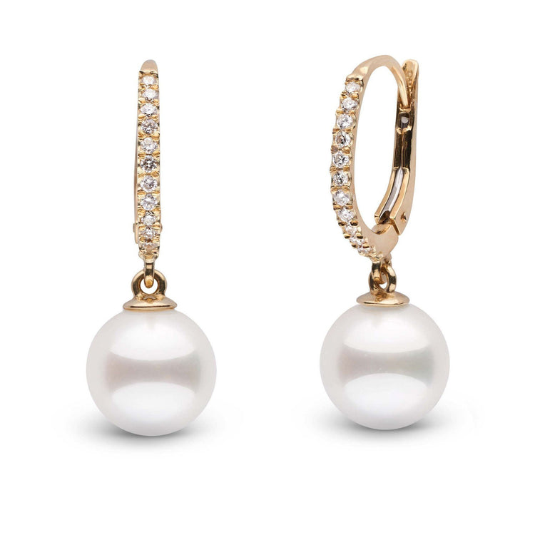 Eternal Collection White Akoya 9.0-9.5 mm Pearl & Diamond Dangle Earrings