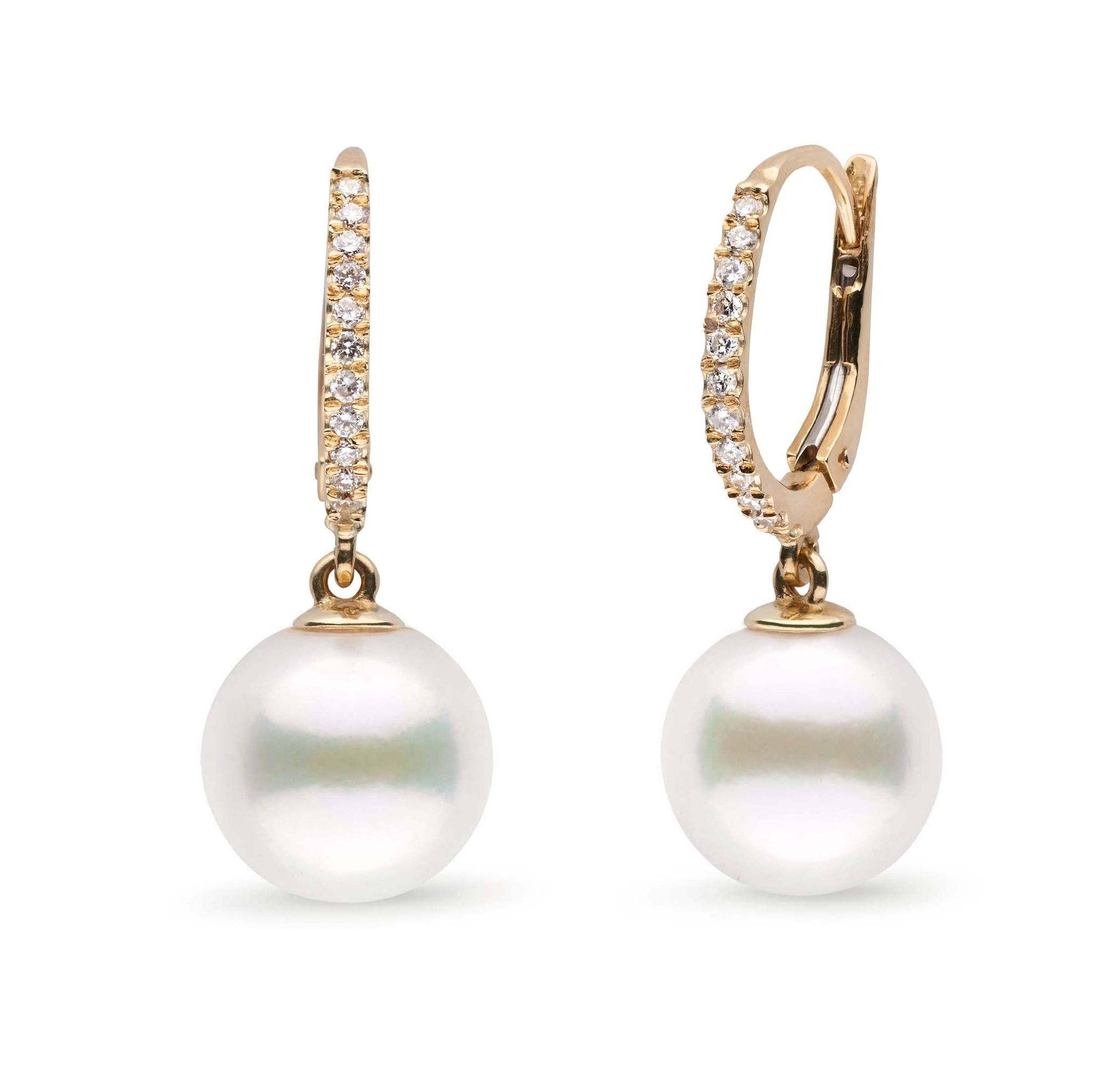 Eternal Collection White Freshadama Freshwater 9.0-10.0 mm Pearl & Diamond Dangle Earrings