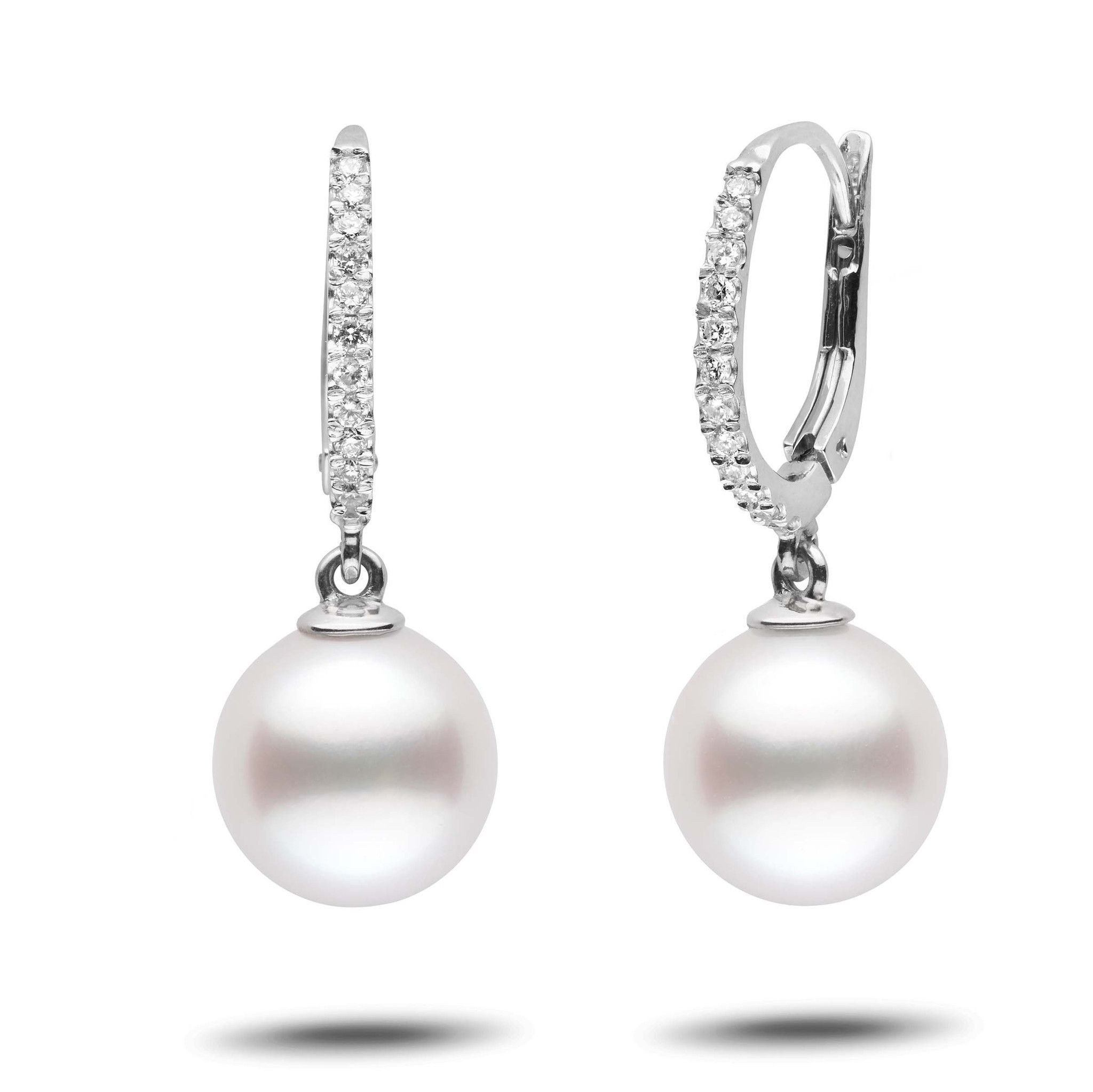 Eternal Collection White South Sea 10.0-11.0 mm Pearl & Diamond Dangle Earrings