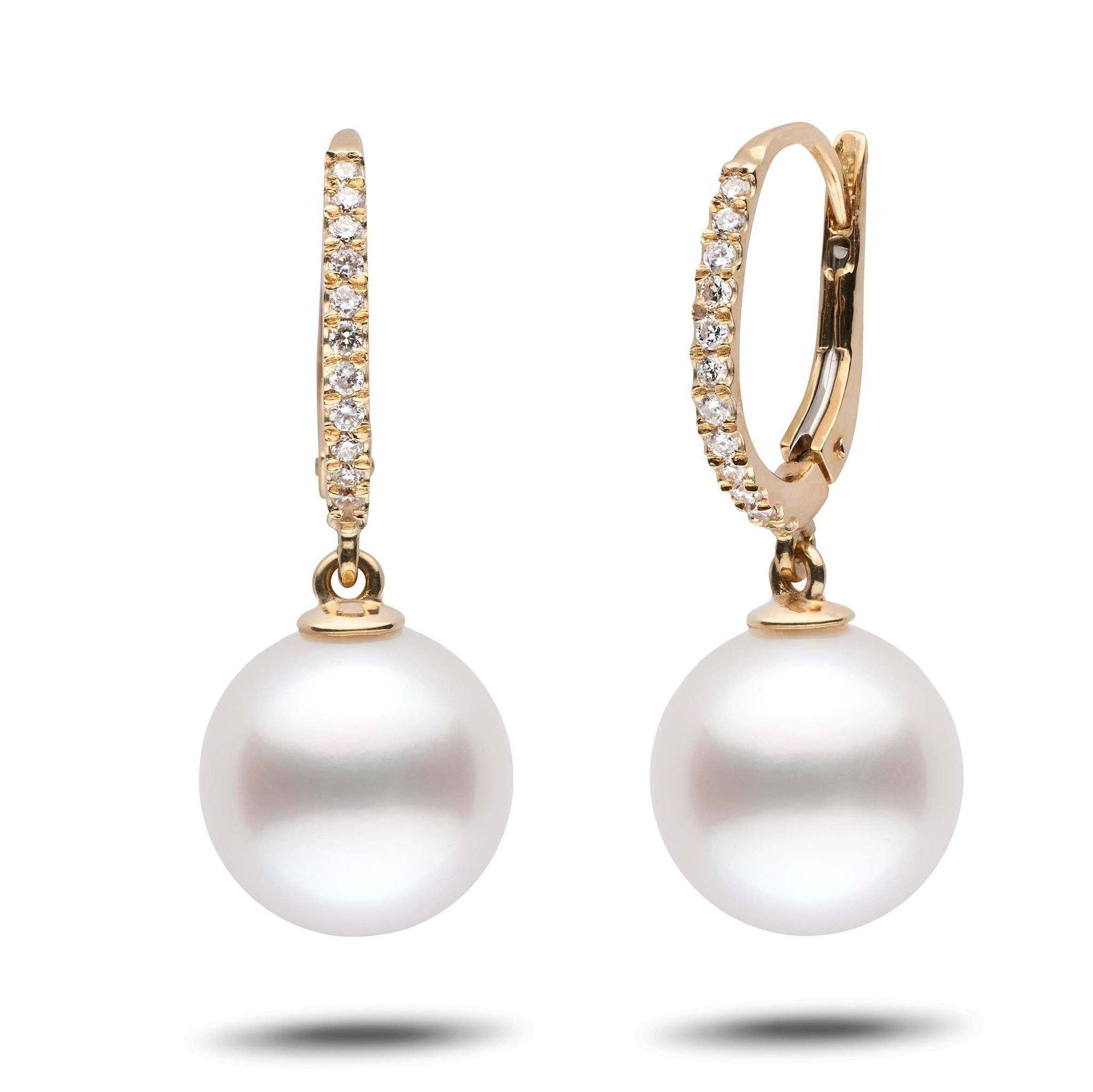 Eternal Collection White South Sea 11.0-12.0 mm Pearl & Diamond Dangle Earrings