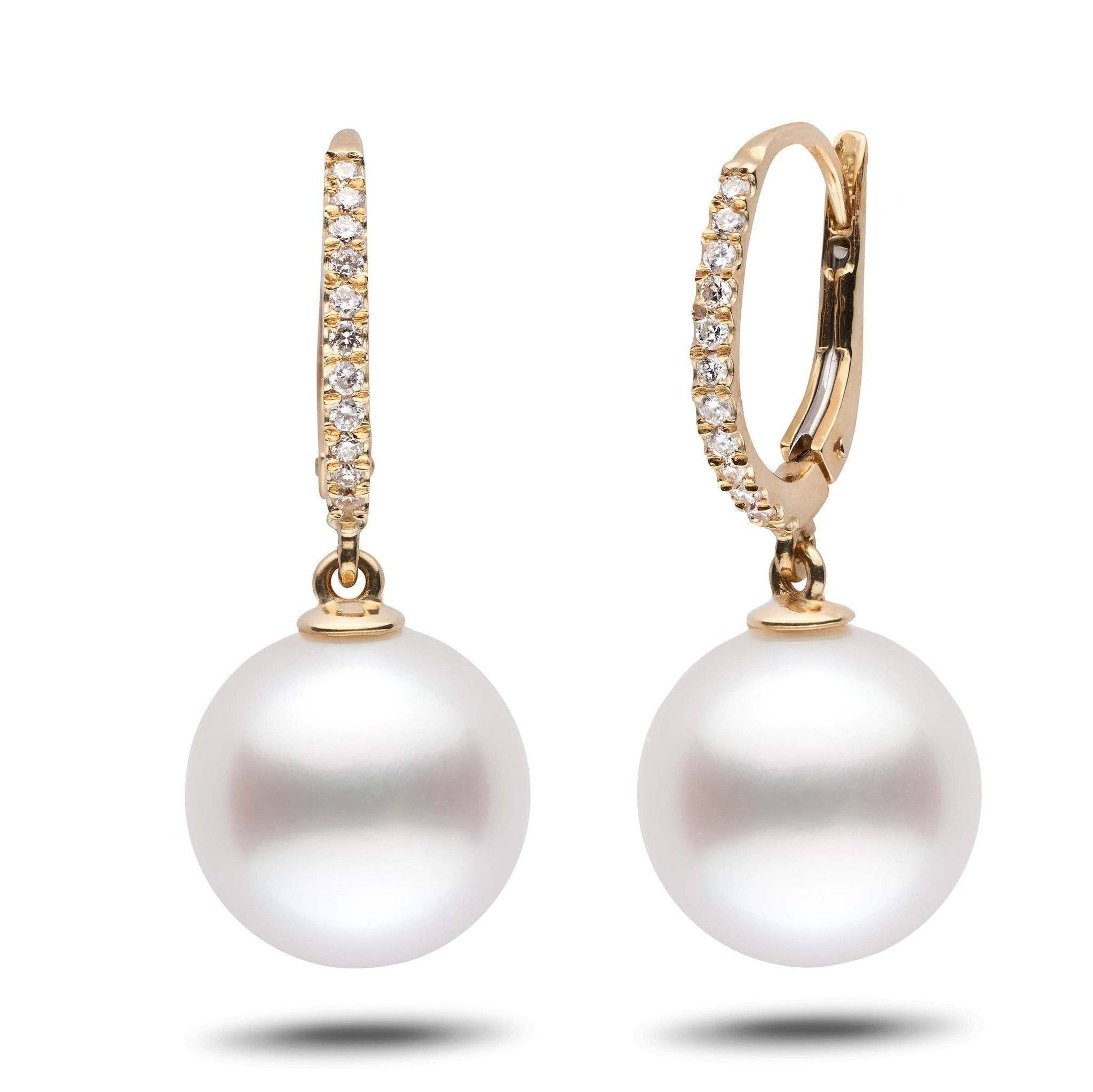 Eternal Collection White South Sea 12.0-13.0 mm Pearl & Diamond Dangle Earrings