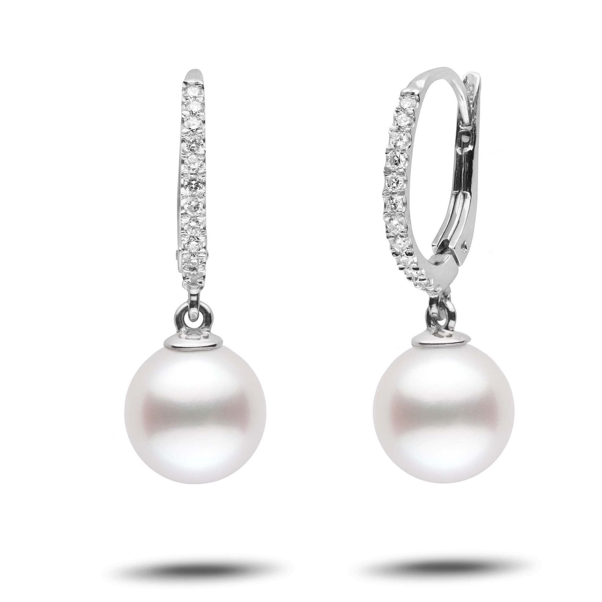 Eternal Collection White South Sea 9.0-10.0 mm Pearl & Diamond Dangle Earrings