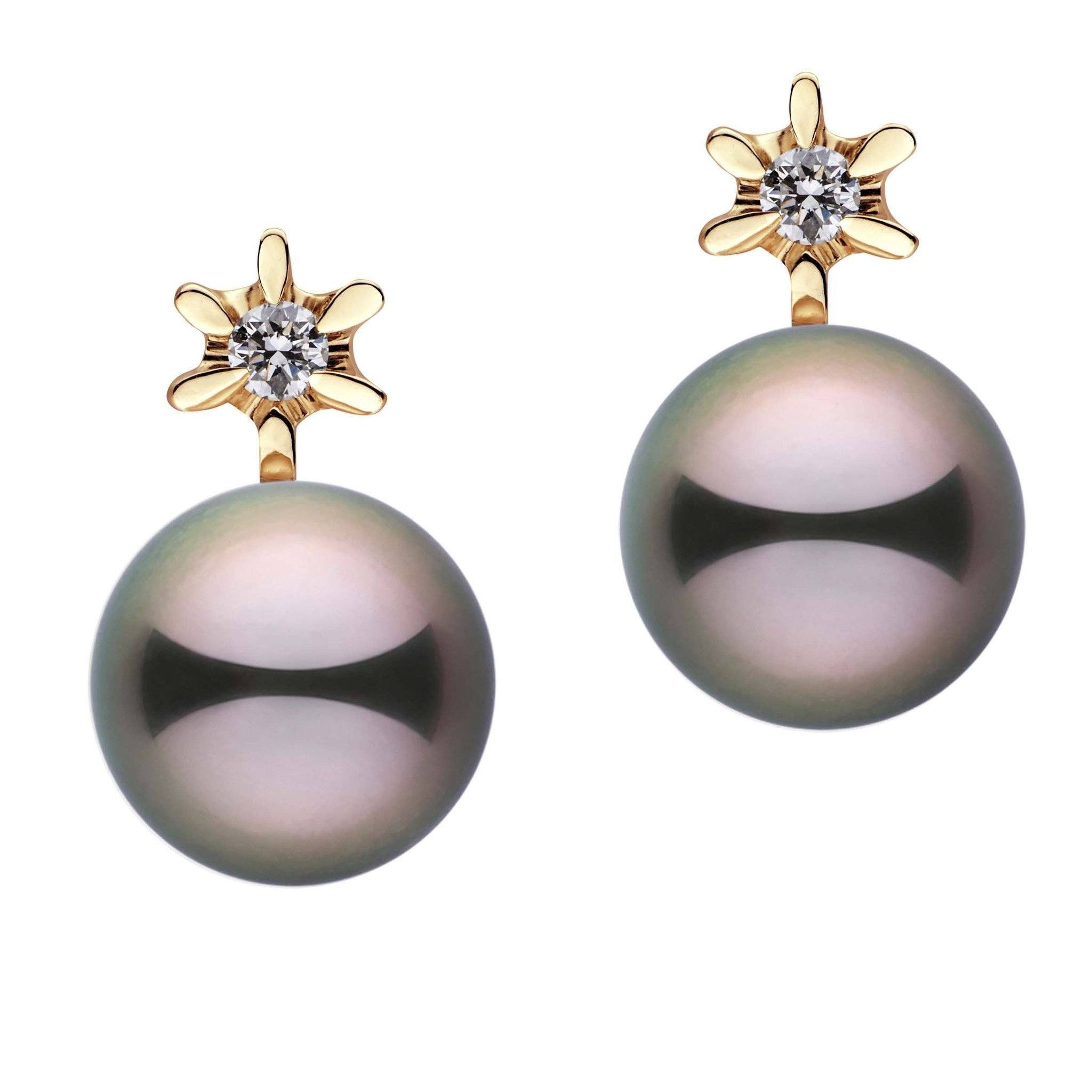Ethereal Collection Tahitian Pearl and Diamond Stud Earrings