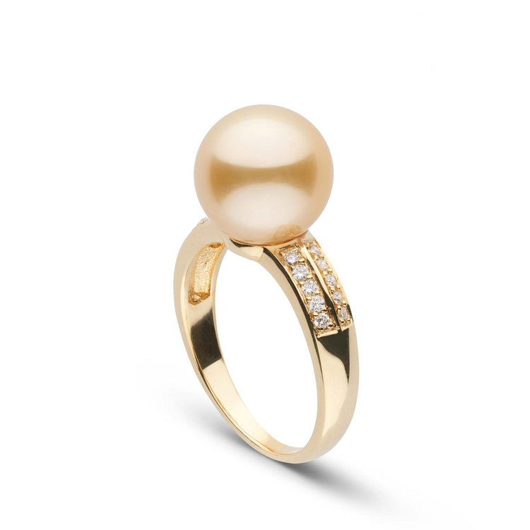 Forever Collection Golden 10.0-11.0 mm South Sea Pearl and Diamond Ring