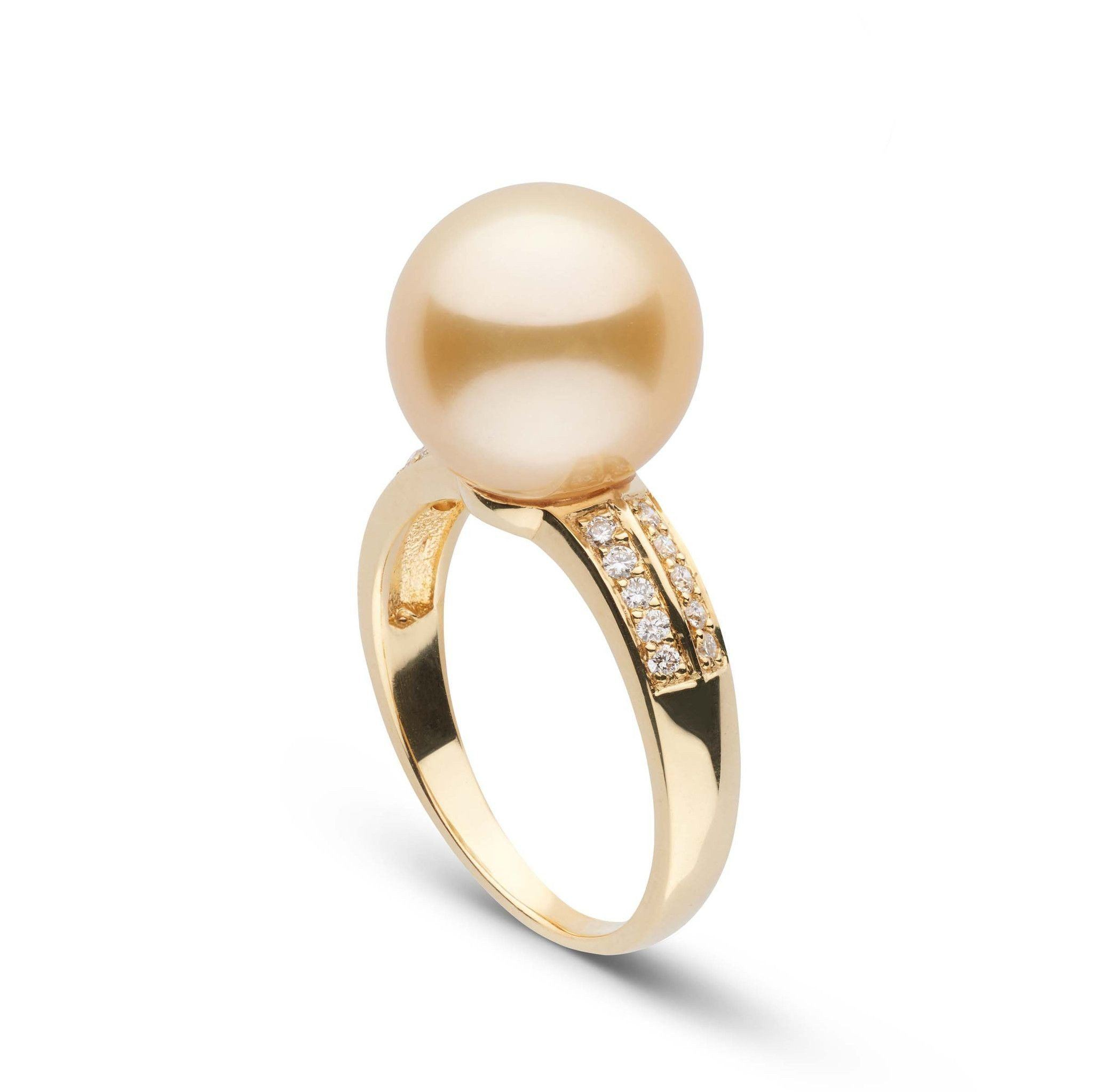 Forever Collection Golden 11.0-12.0 mm South Sea Pearl and Diamond Ring