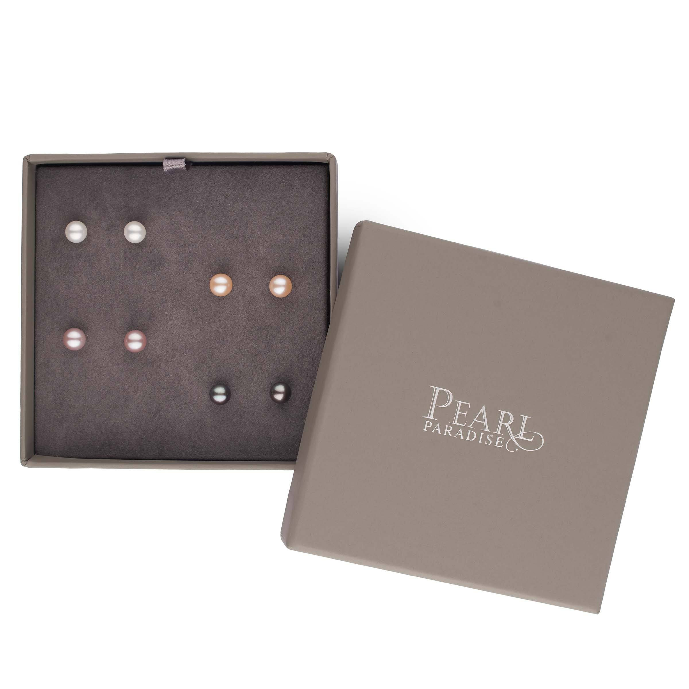 Essential Colors 4-Piece Sweetheart Set of AAA Freshwater Pearl Earrings