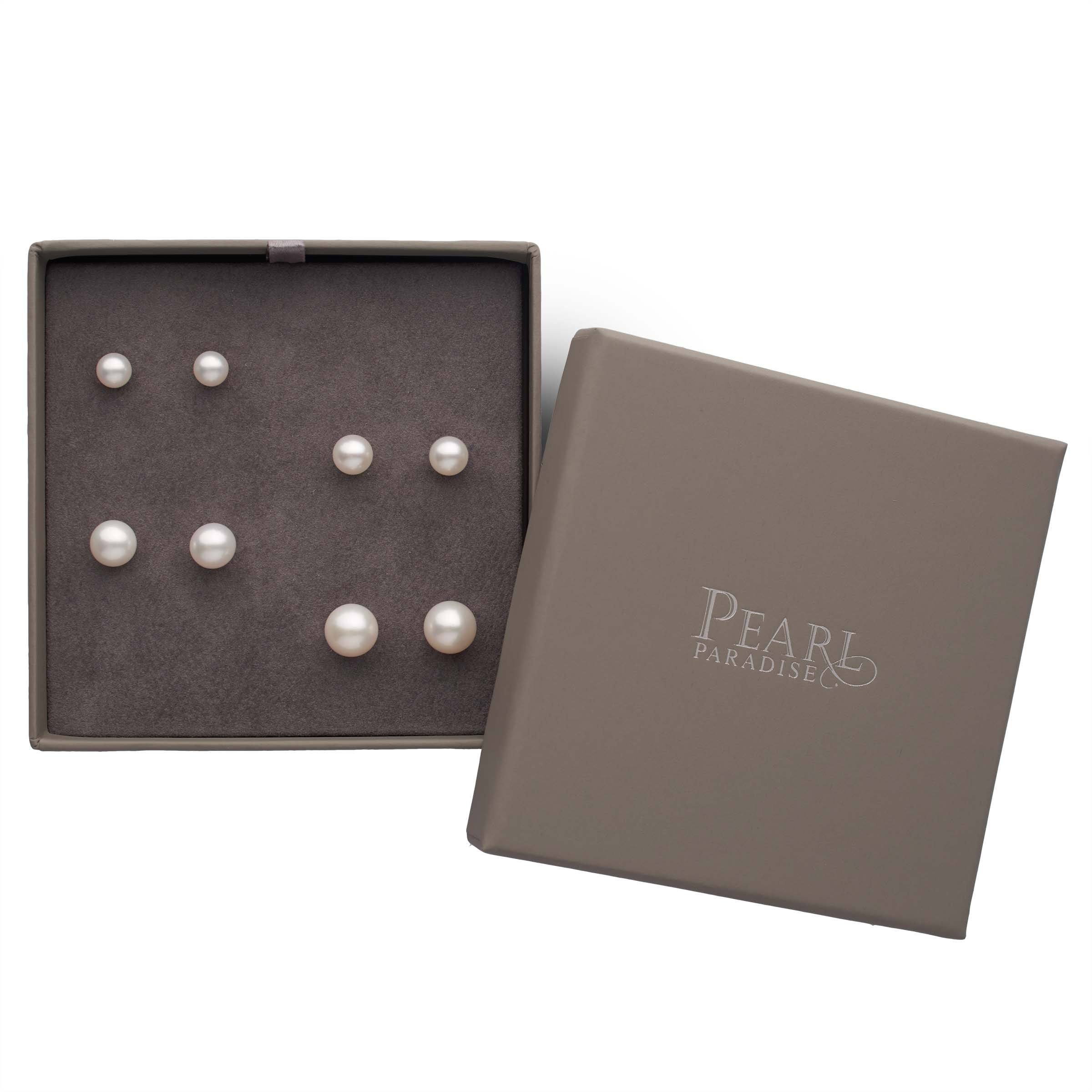 Essential Sizes 4-Piece Sweetheart Set of AAA Freshwater Pearl Earrings