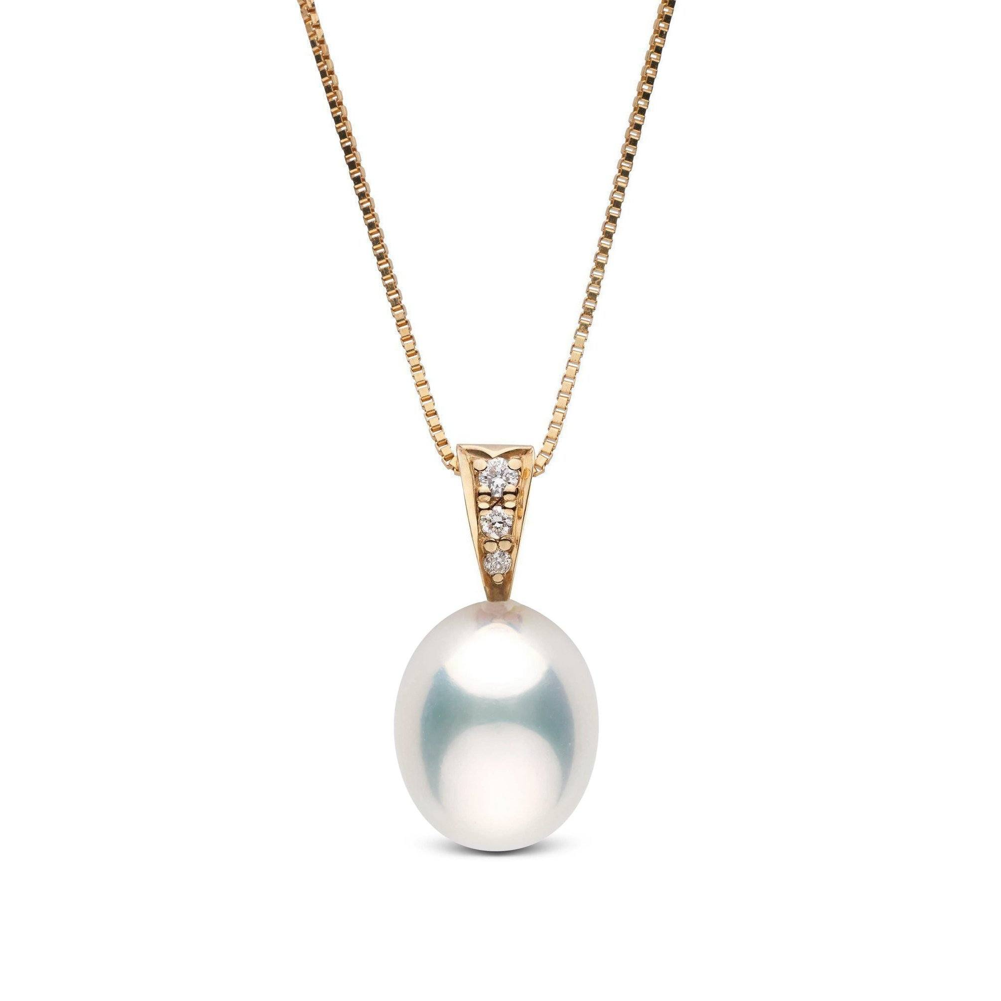 Desire Collection White 9.0-10.0 mm Drop Freshwater Pearl & Diamond Pendant