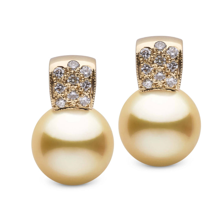 Glamour Collection Golden South Sea 12.0-13.0 mmPearl and Diamond Earrings