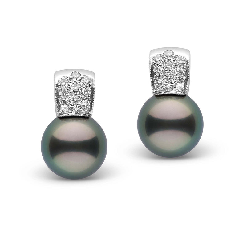 Glamour Collection Tahitian 11.0-12.0 mm Pearl and Diamond Earrings