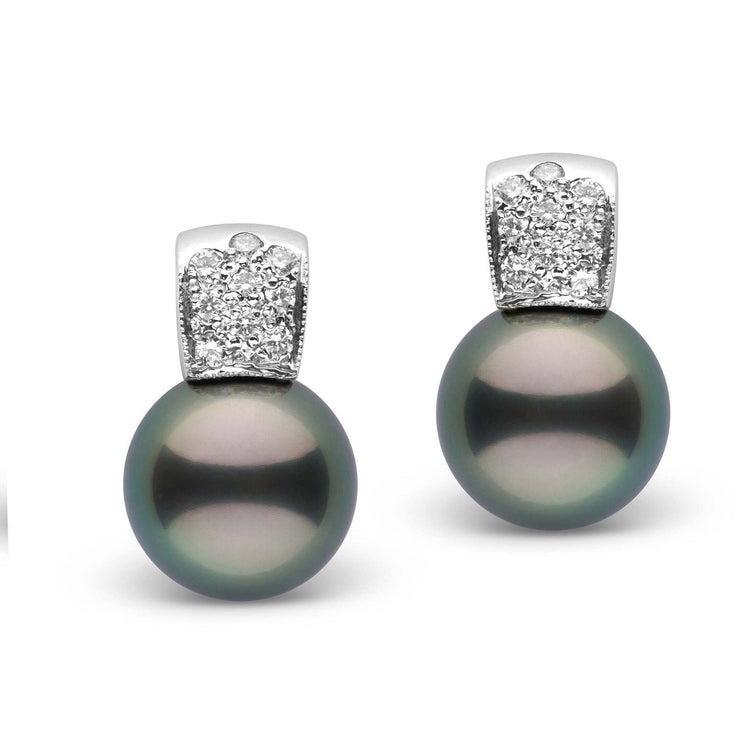 Glamour Collection Tahitian 12.0-13.0 mm Pearl and Diamond Earrings