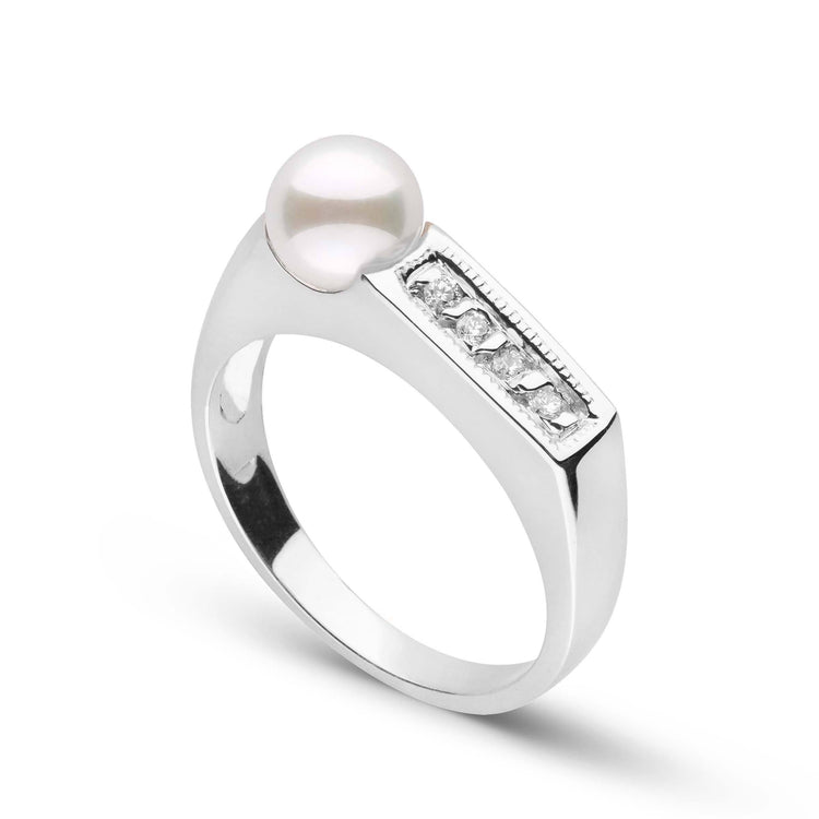 Glitz Collection Akoya Pearl Ring in Sterling Silver