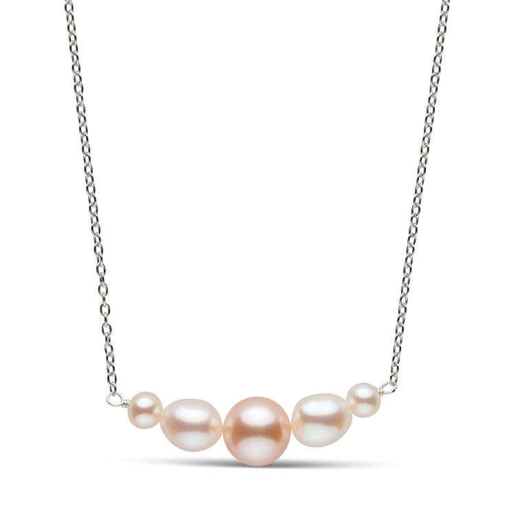 Graduated White and Pink Pearl Freshwater Bar Pendant