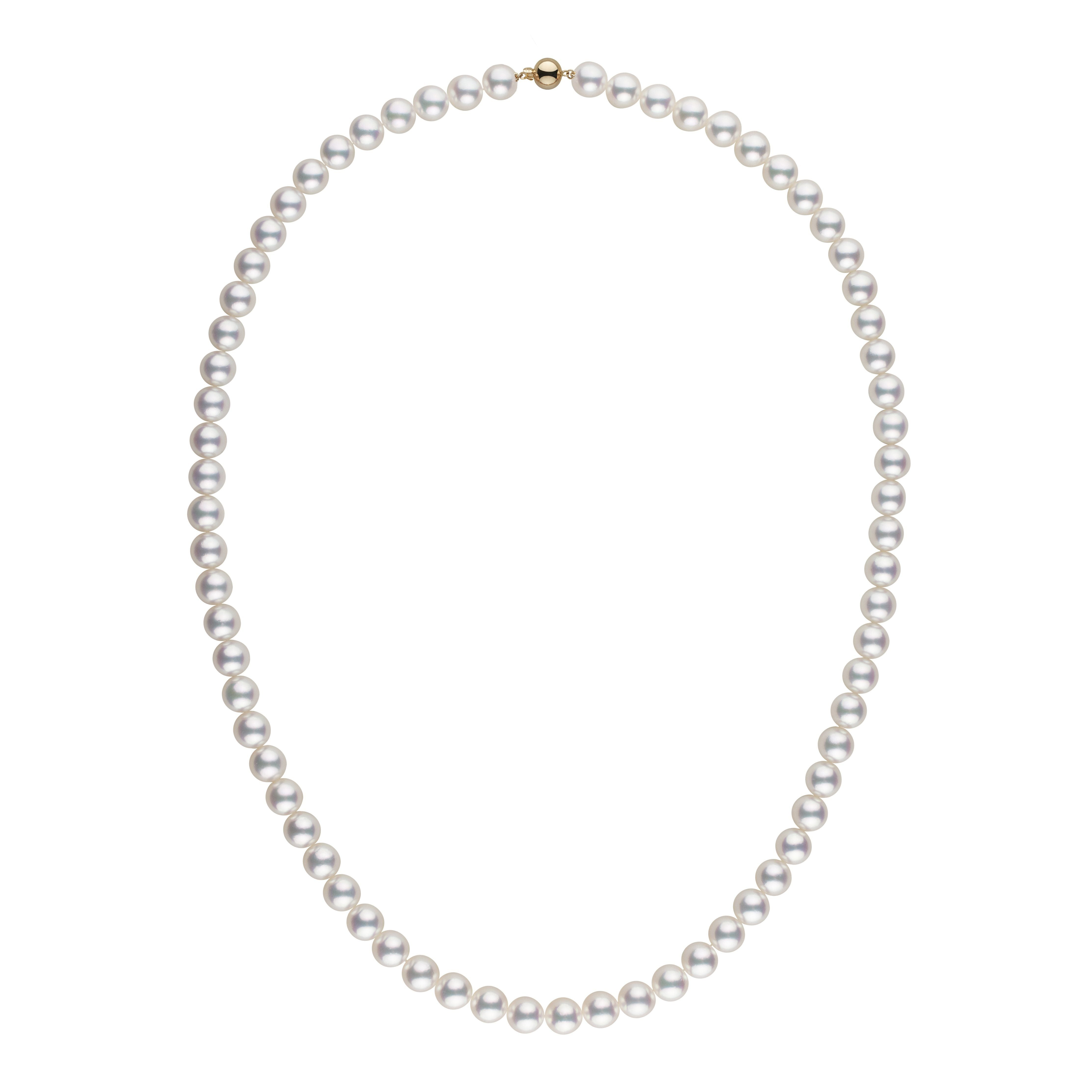 8.0-8.5 mm Special 22-Inch White Hanadama Akoya Pearl Necklace