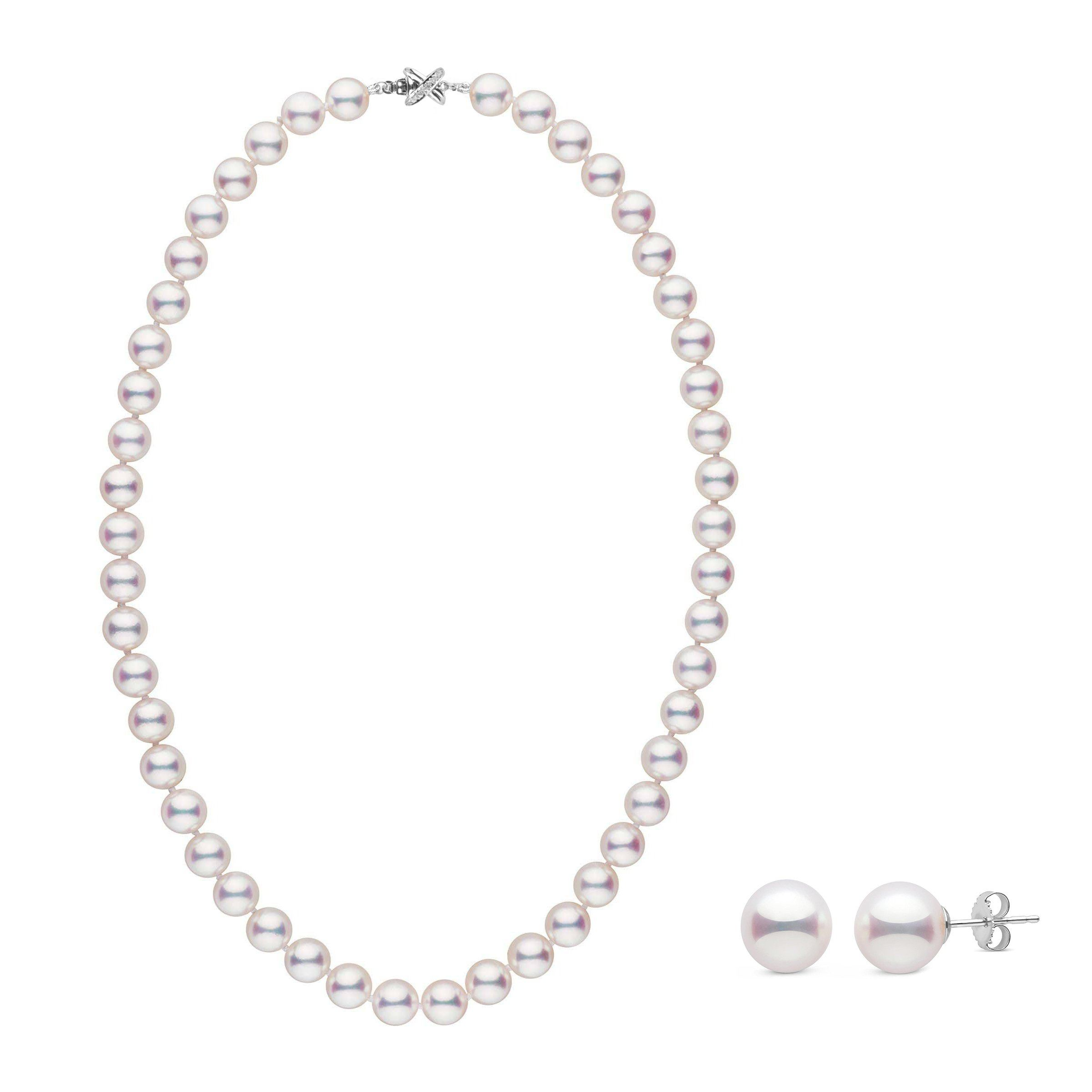 8.5-9.0 mm White Hanadama Pearl Set with Diamond X Clasp