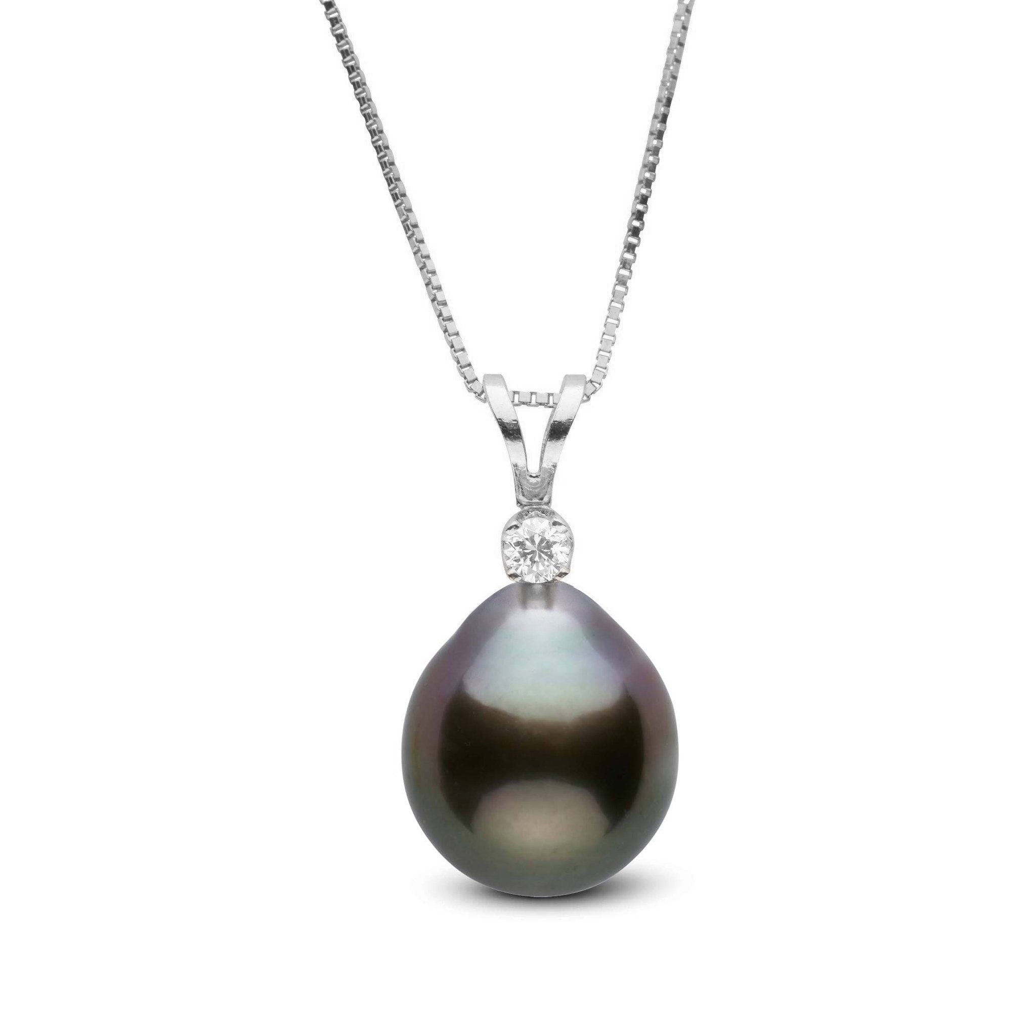 Harmony Collection 8.0-9.0 mm Drop Tahitian Pearl & Diamond Pendant
