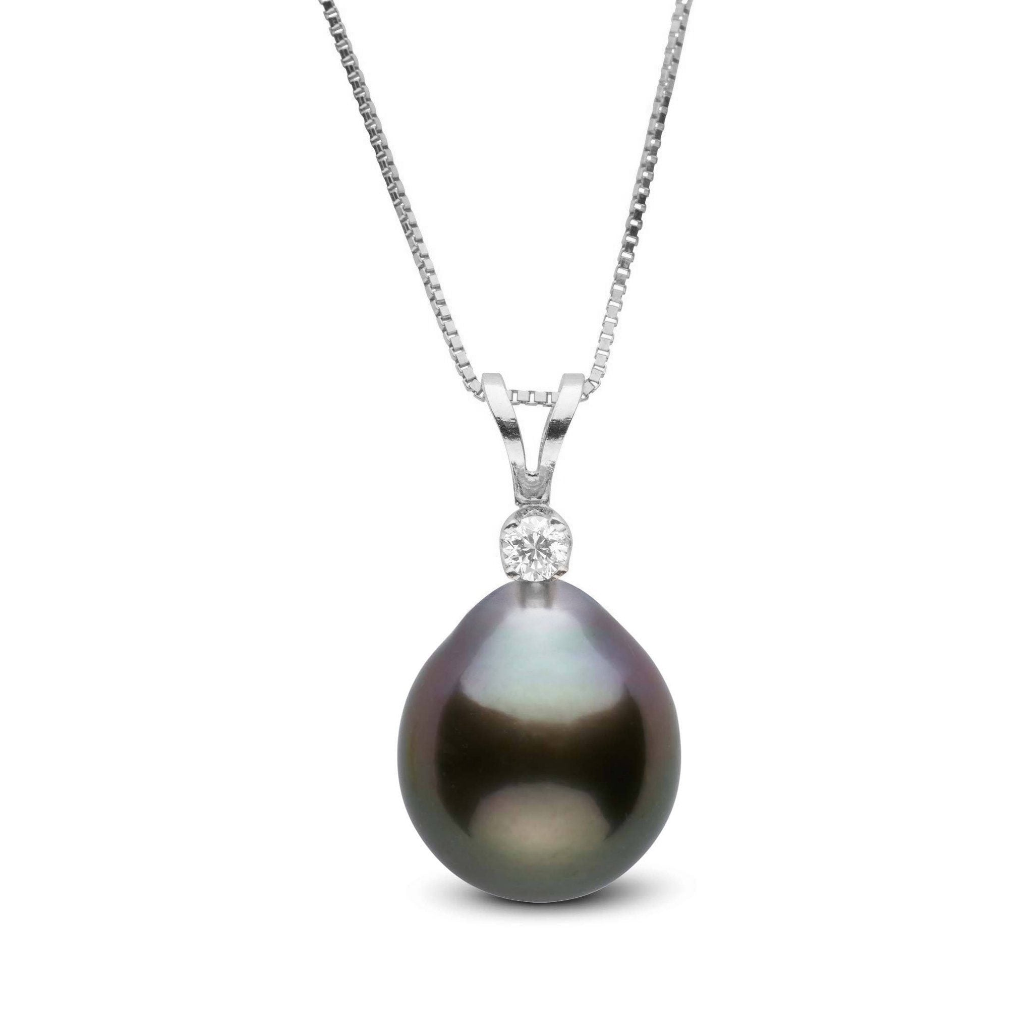 Harmony Collection 9.0-10.0 mm Drop Tahitian Pearl & Diamond Pendant