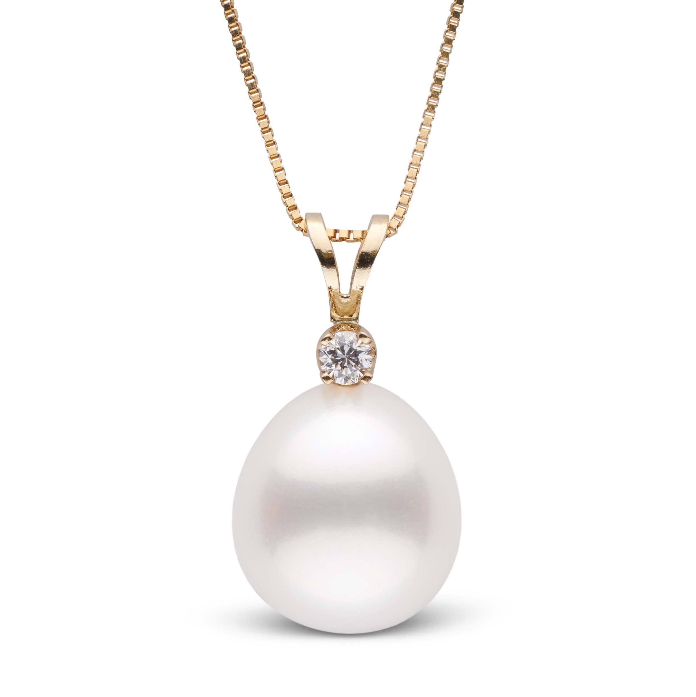 Harmony Collection Drop 11.0-12.0 mm White South Sea Pearl & Diamond Pendant