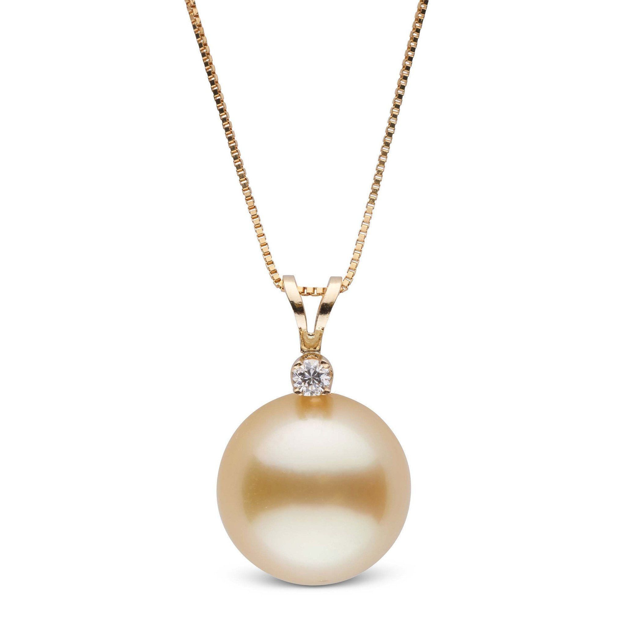 Harmony Collection Golden 11.0-12.0 mm South Sea Pearl & Diamond Pendant