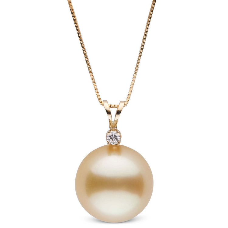 Harmony Collection Golden 13.0-14.0 mm South Sea Pearl & Diamond Pendant