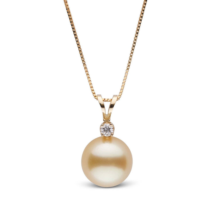 Harmony Collection Golden 9.0-10.0 mm South Sea Pearl & Diamond Pendant