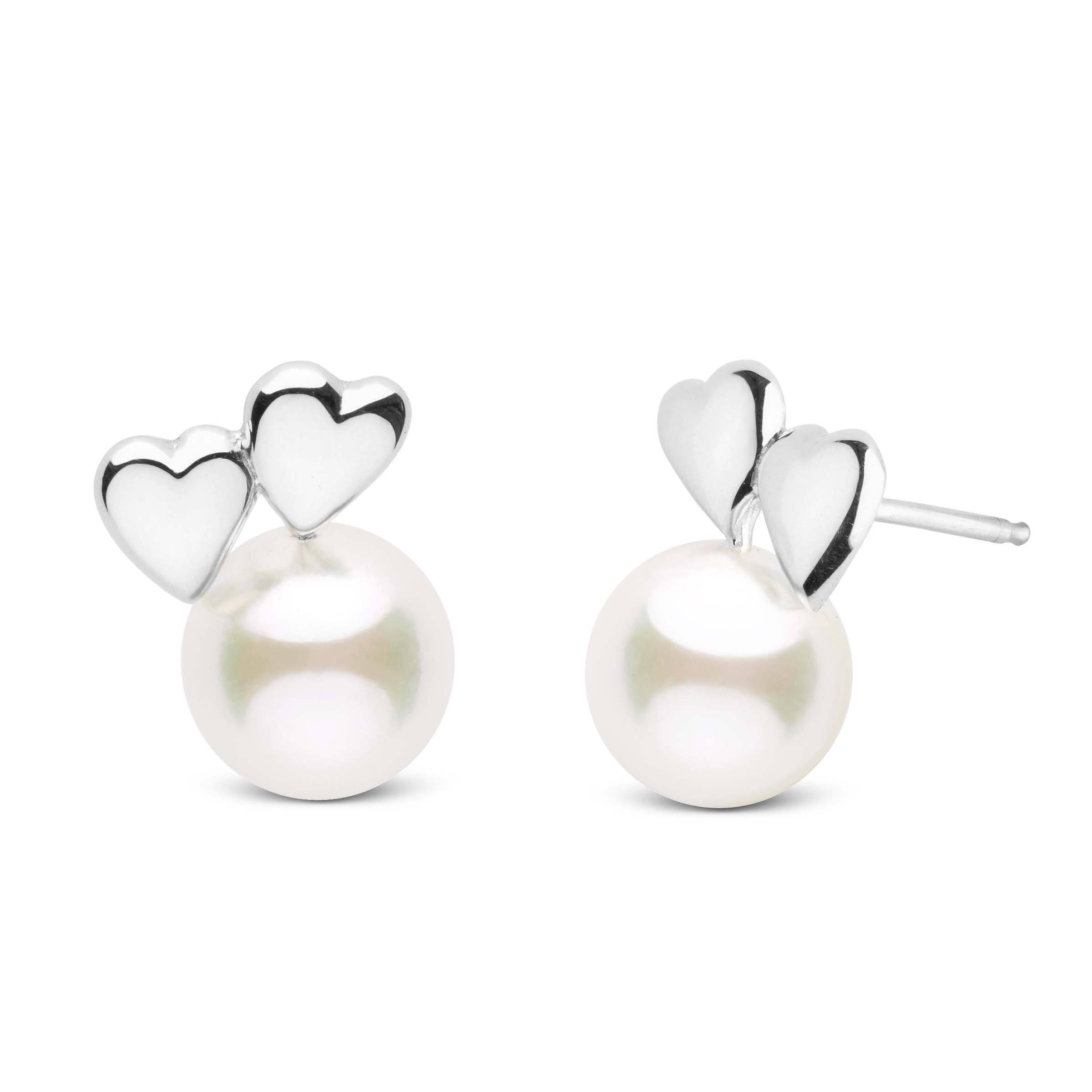 Heart to Heart Collection White Akoya Pearl 7.0-7.5 mm Earrings