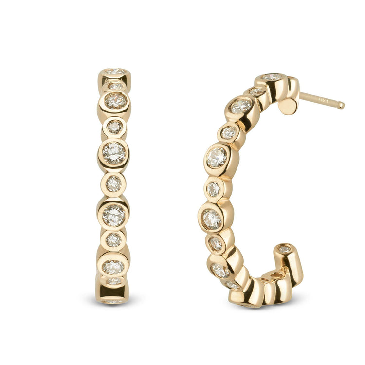 Helios Collection Diamond Earring Hoops - Setting Only