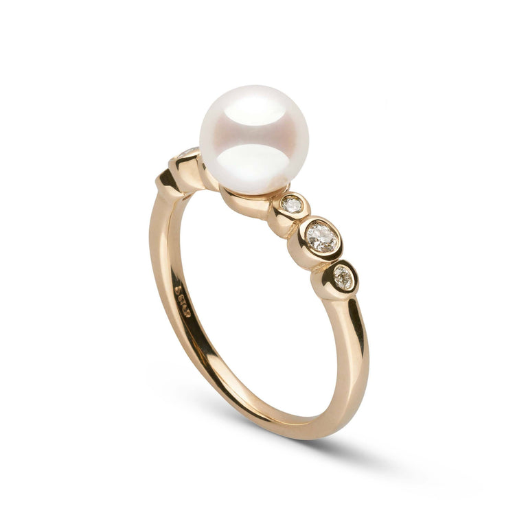 Helios Collection White Akoya 7.0-7.5 mm Pearl and Diamond Ring