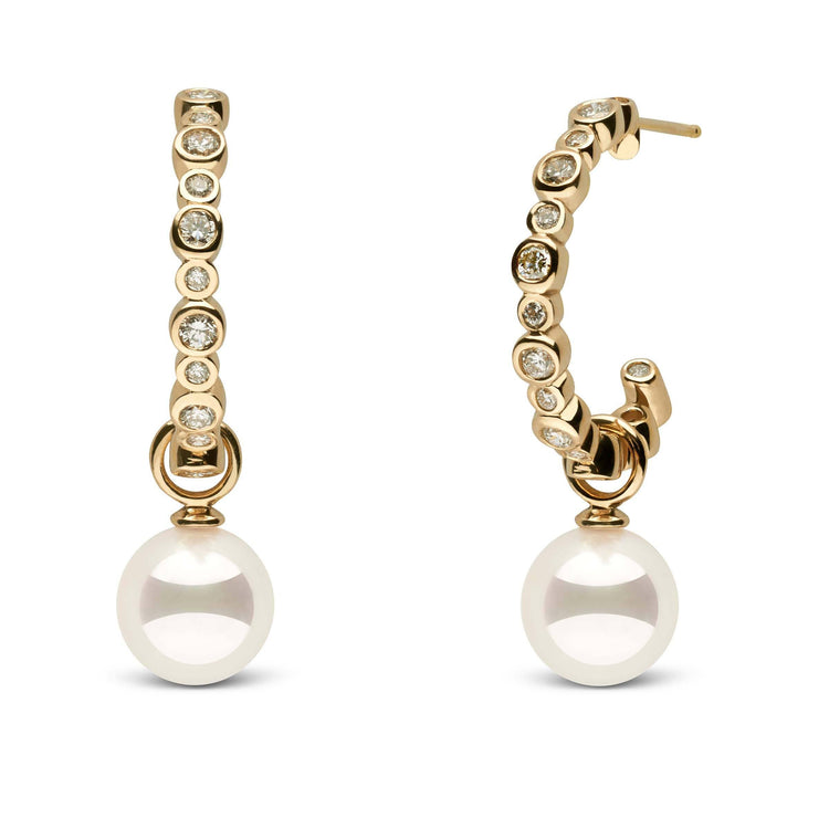 Helios Collection White Akoya 9.0-9.5 mm Pearl and Diamond Hoop Earrings