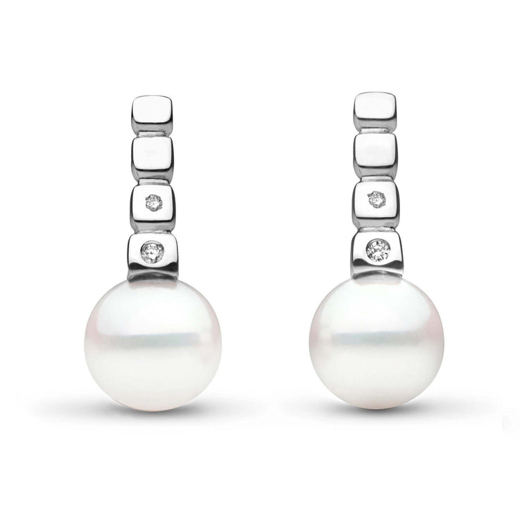 Hera Collection Akoya 9.0-9.5 mm Pearl and Diamond Earrings