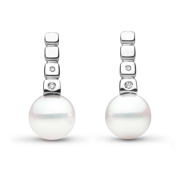 Hera Collection Akoya 9.0-9.5 mm Pearl and Diamond Earrings in Sterling Silver