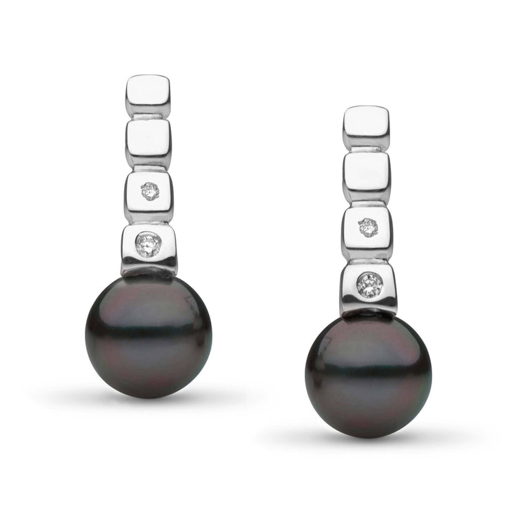 Hera Collection Tahitian 8.0-9.0 mm Pearl and Diamond Earrings in Sterling Silver
