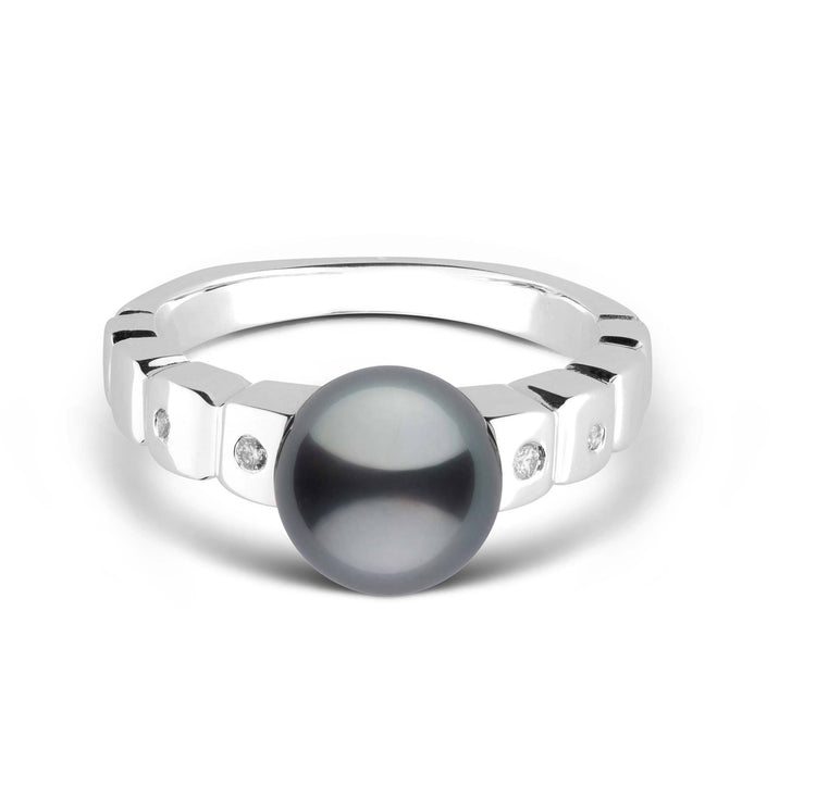 Hera Collection Tahitian Pearl and Diamond Ring in Sterling Silver