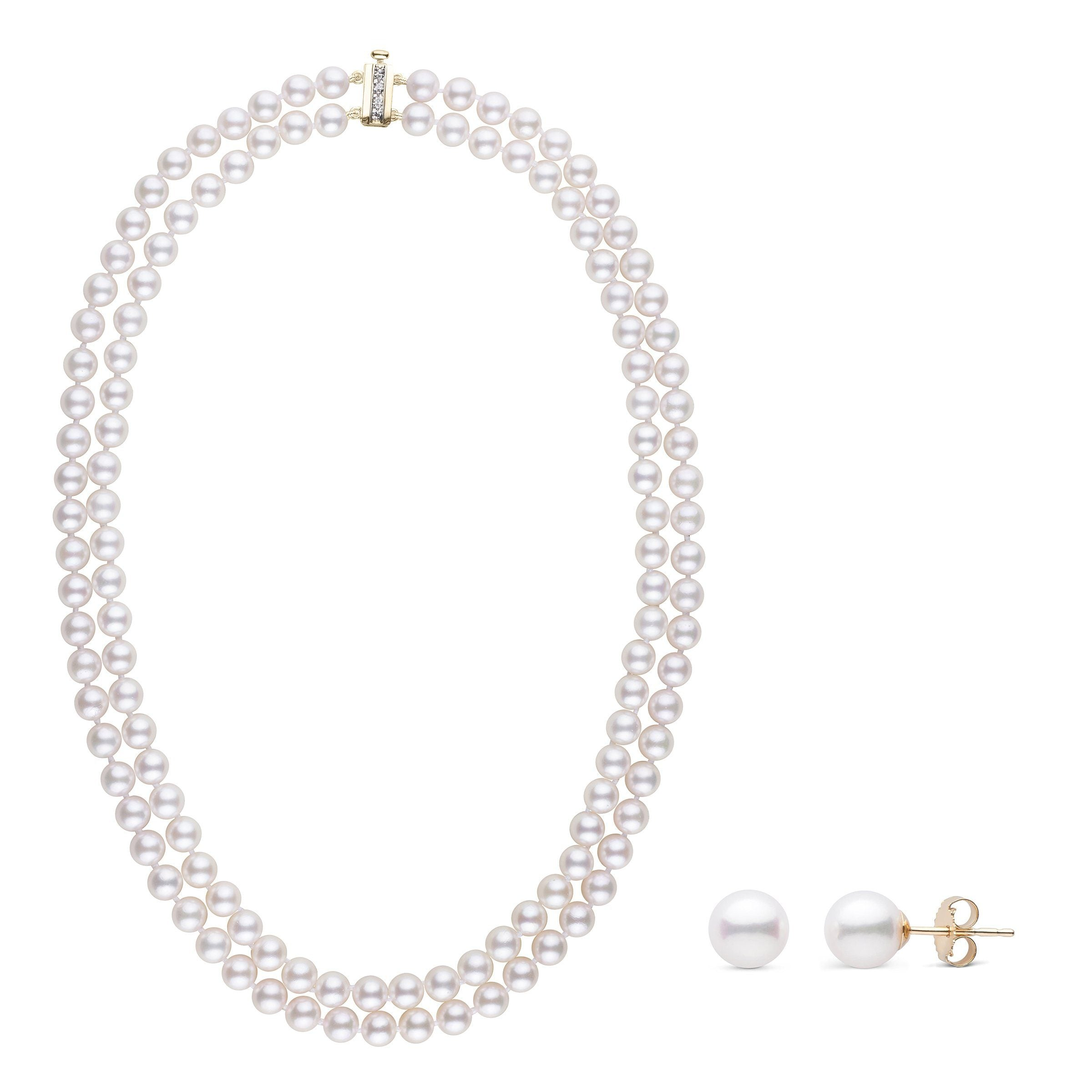 6.0-6.5 mm AA+ White Akoya Double Strand Diamond Bar Clasp Necklace & Earring Set