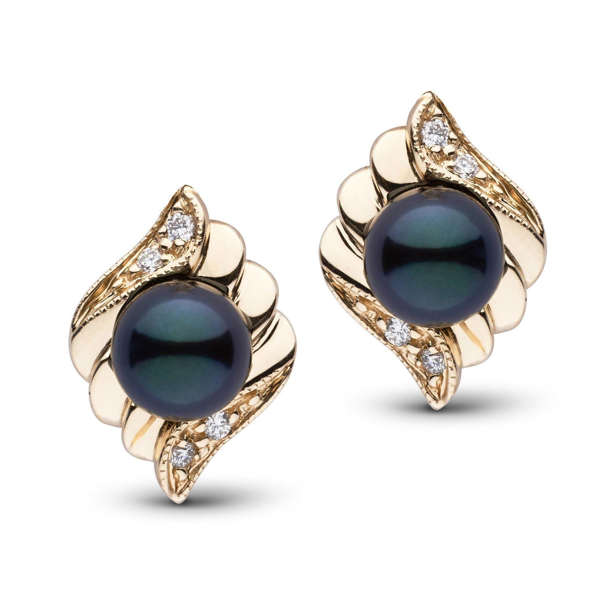 Julep Collection Black Akoya Pearl and Diamond Earrings