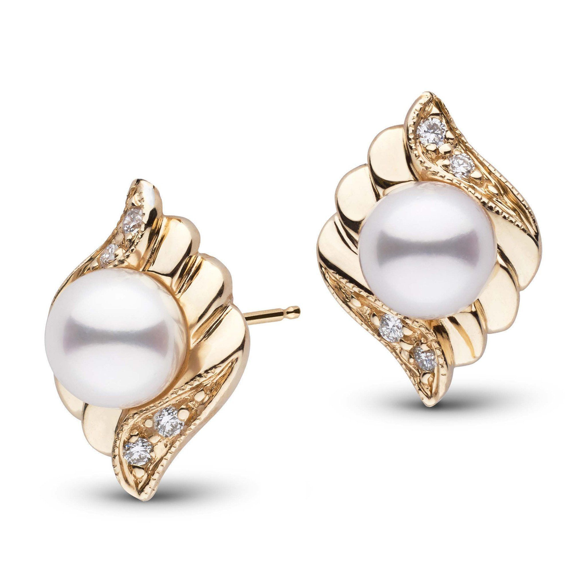 Julep Collection White Akoya Pearl and Diamond Earrings