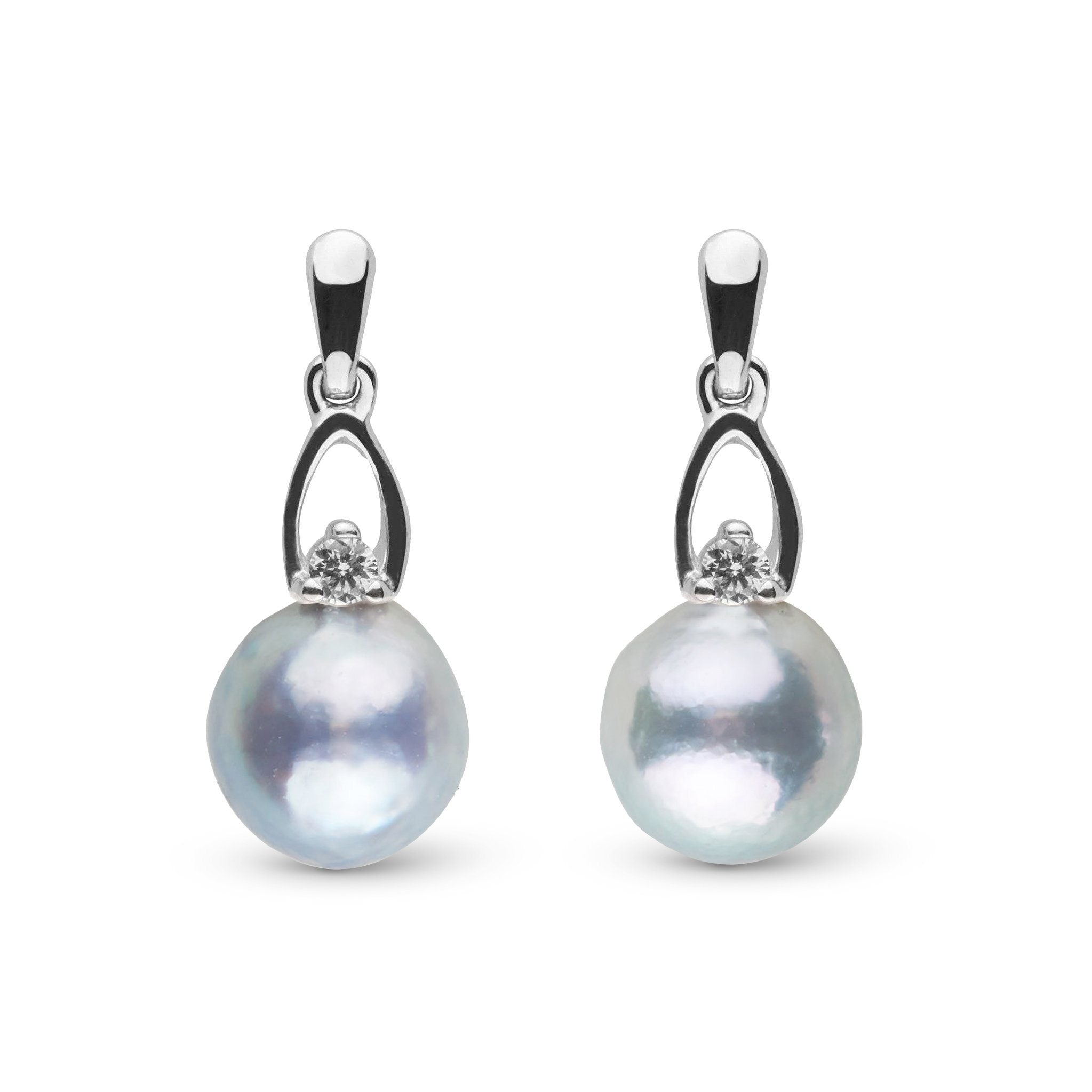 Juliet Collection 7.0-8.0 mm Silver-Blue Akoya Pearl and Diamond Earrings