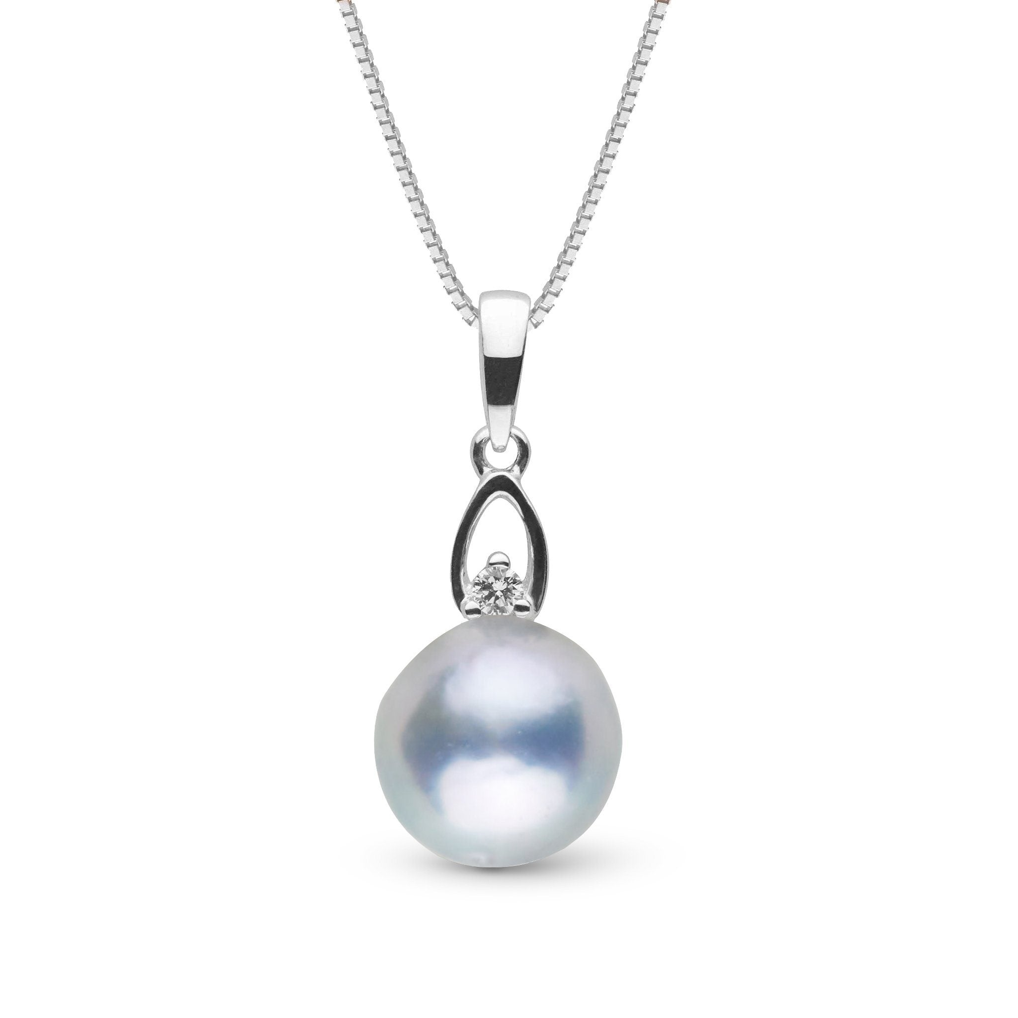 Juliet Collection 7.0-8.0 mm Silver Blue Akoya Pearl and Diamond Pendant