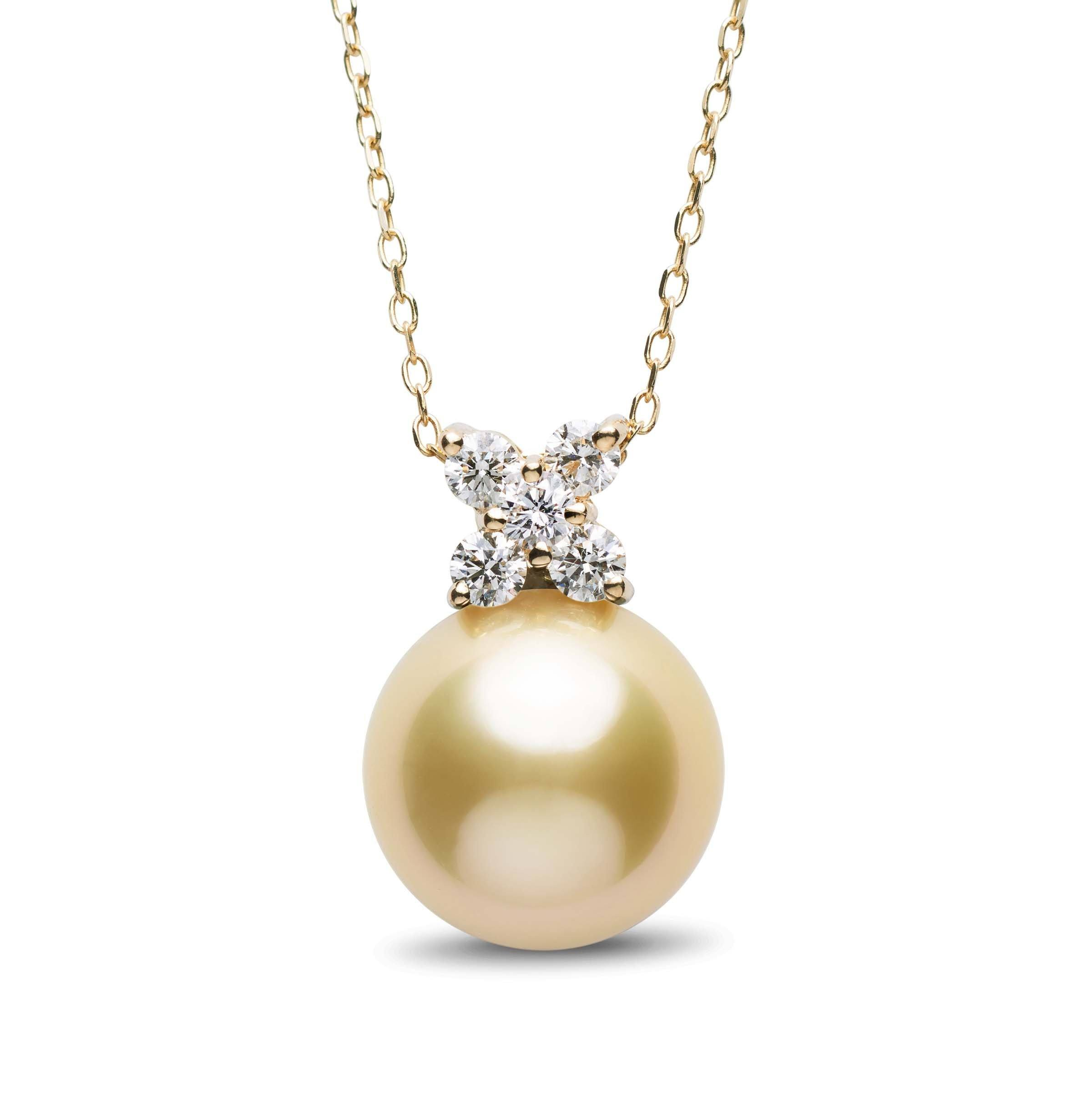 Kiss Collection 12.0-13.0 mm Golden South Sea Pearl and Diamond Pendant