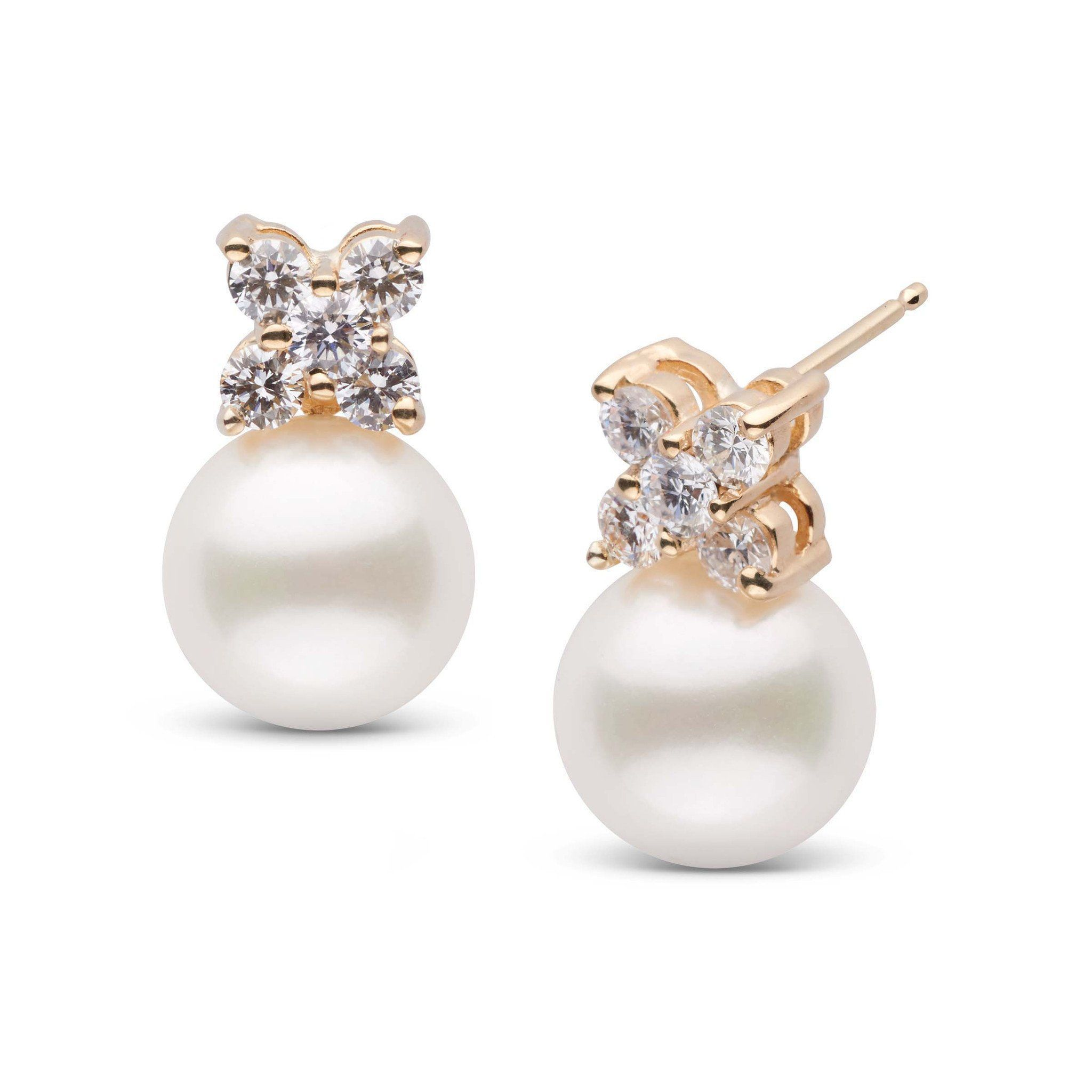 Kiss Collection Freshadama 9.0-10.0 mm Pearl and Diamond Earrings