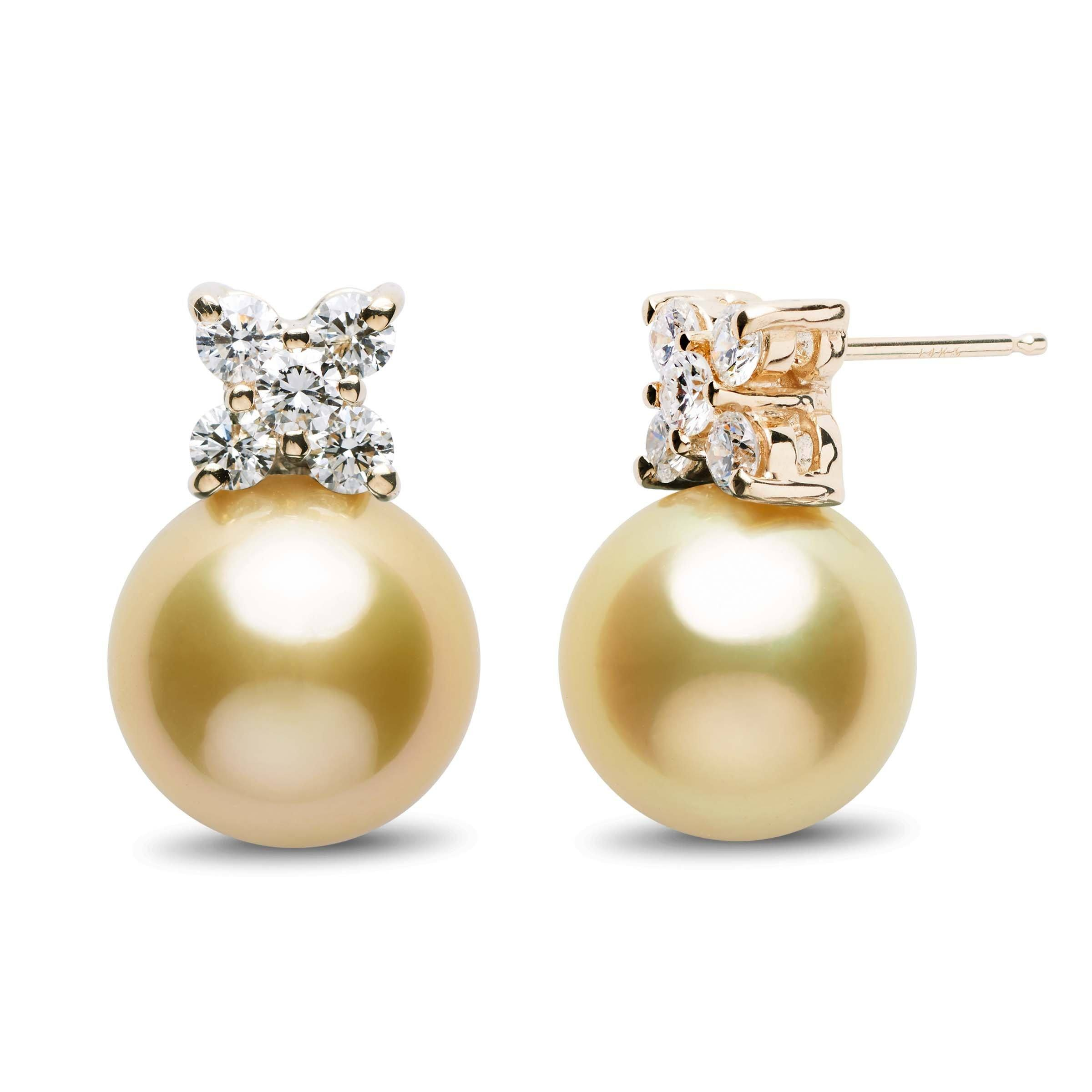 Kiss Collection Golden South Sea 11.0-12.0 mm Pearl and Diamond Stud Earrings