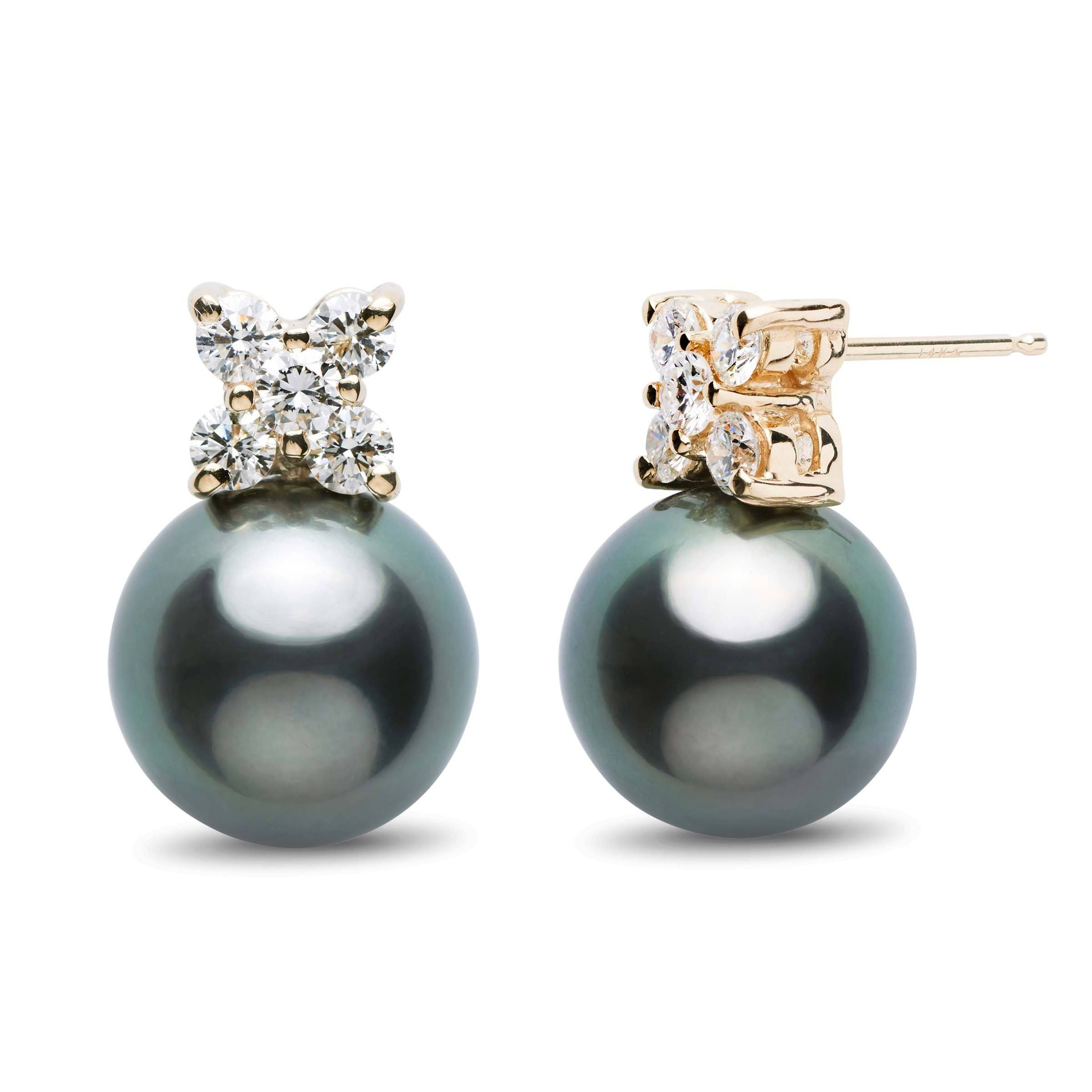 Kiss Collection Tahitian 11.0-12.0 mm Pearl and Diamond Stud Earrings