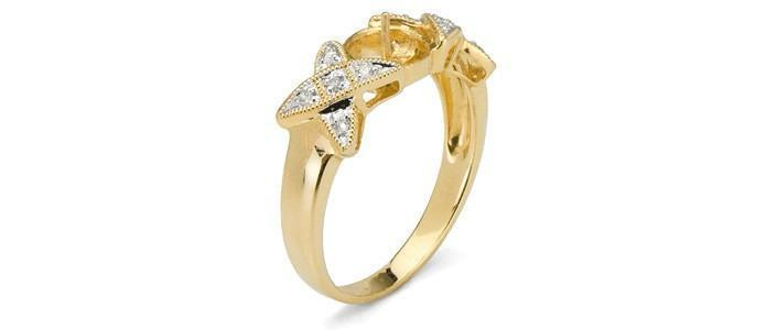 Kiss Diamond Ring 18K Gold - Setting Only
