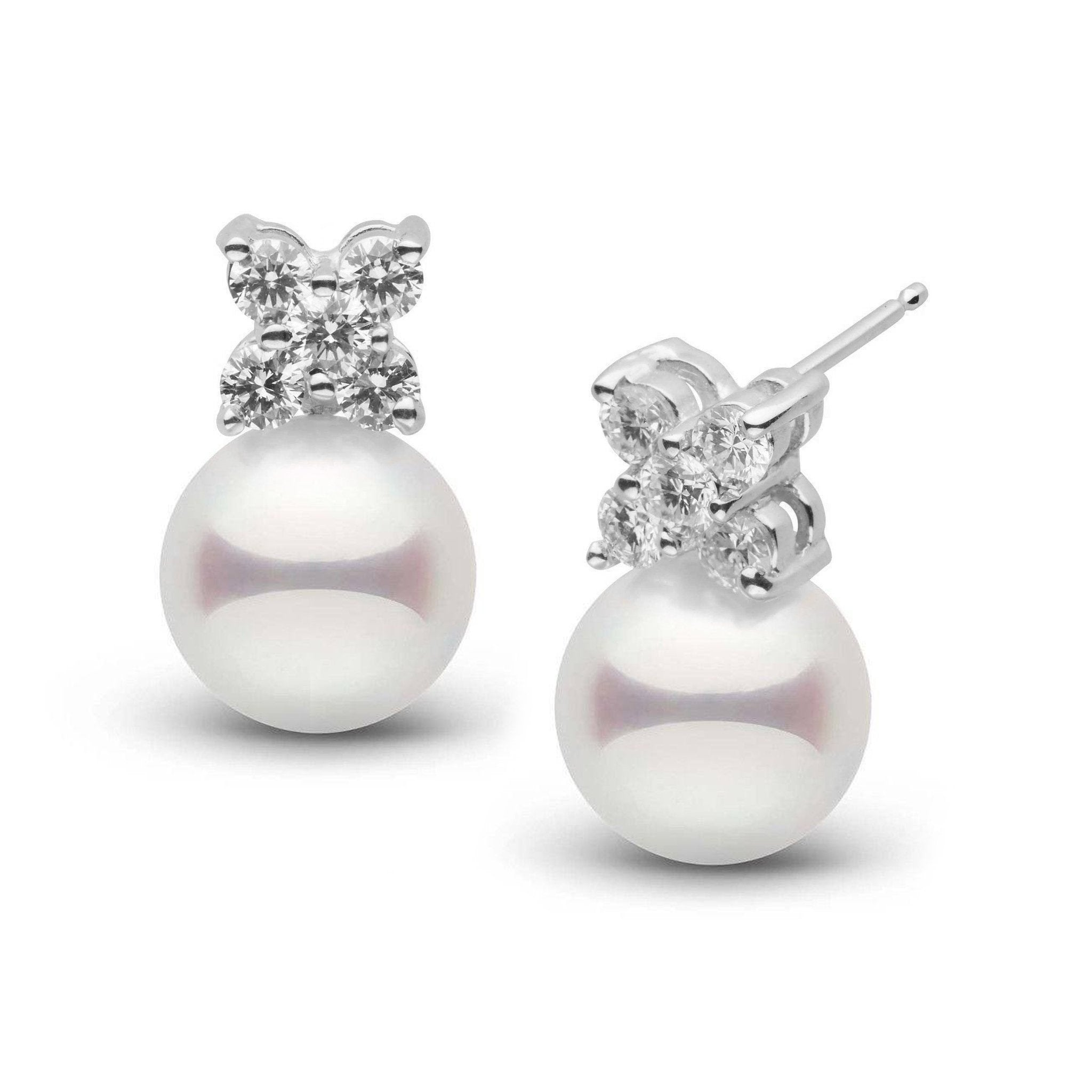 Kiss Collection White 9.0-9.5 mm Akoya Pearl and Diamond Earrings