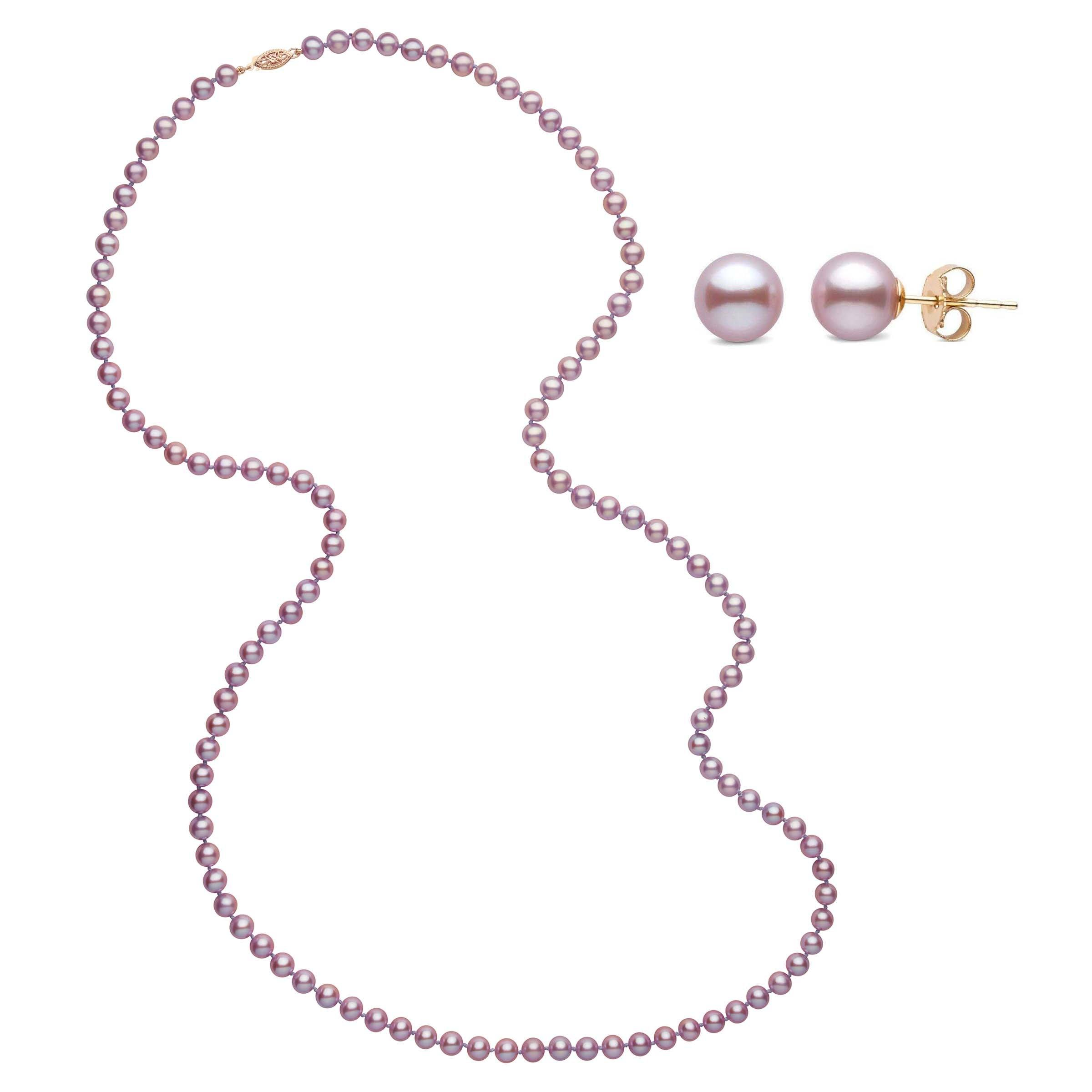 35 Inch 2 Piece Set of 6.5-7.0 mm AAA Lavender Freshwater Pearls
