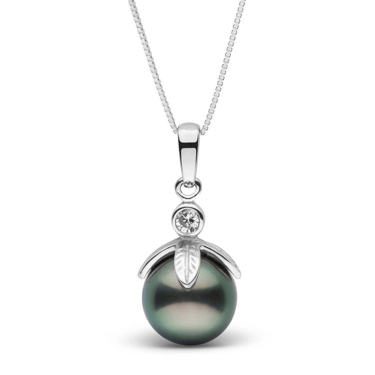 Leaf Collection 9.0-10.0 mm Tahitian Pearl and Diamond Pendant
