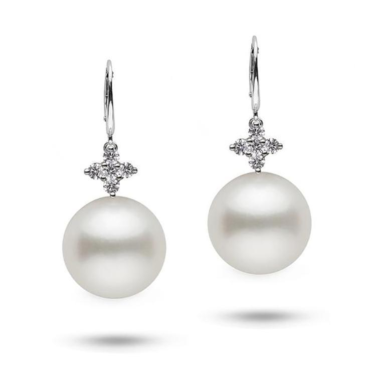 Lilac Collection 15.0-16.0 mm White South Sea Pearl and Diamond Earrings