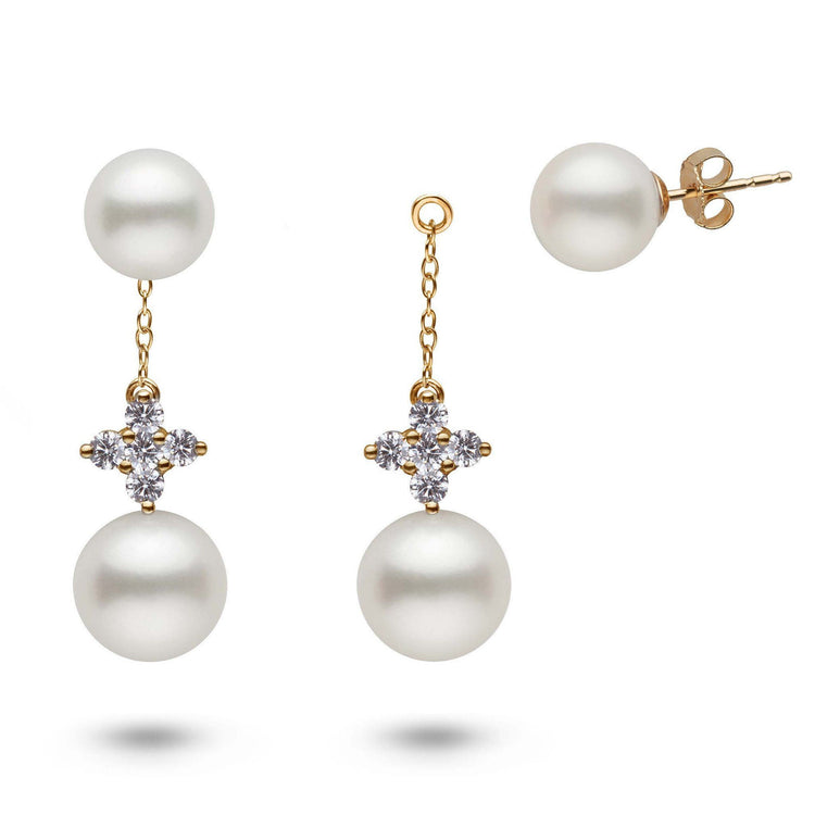 Lilac Collection White Freshadama Pearl and Diamond Earring Jacket Set