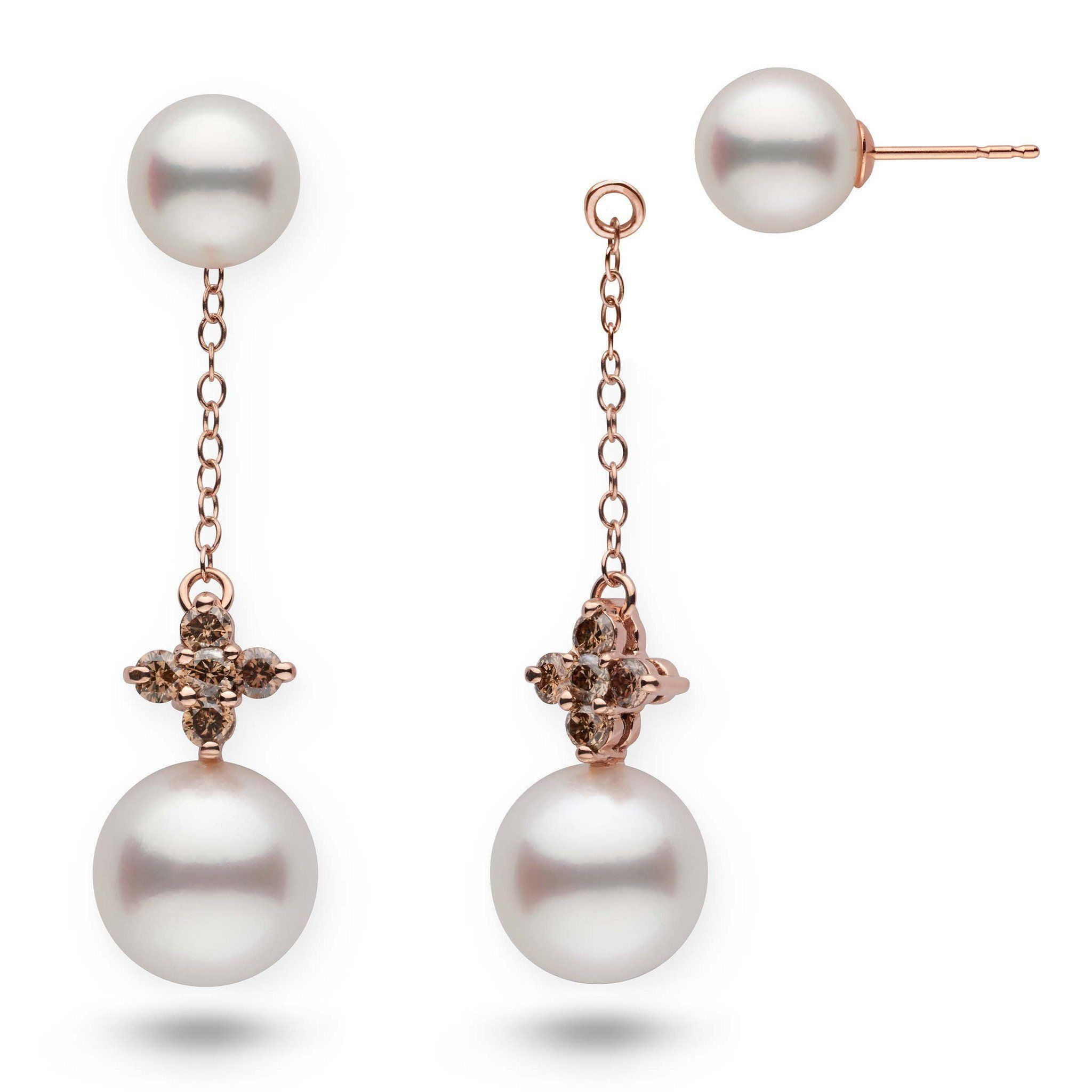 Lilac Collection White South Sea Pearl and Champagne Diamond Earring Jacket Set