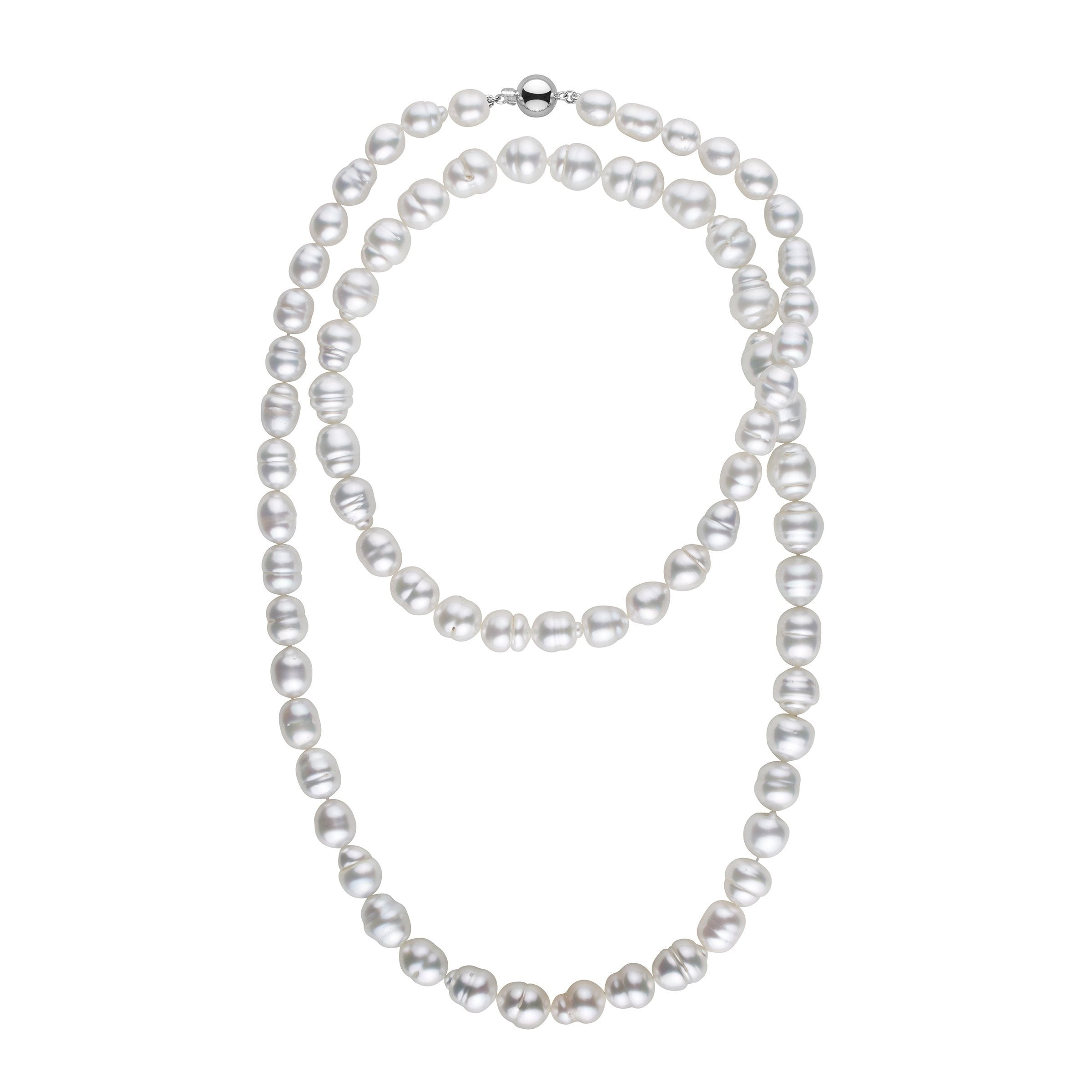 8.3-11.8 mm AA+/AAA White South Sea Baroque Necklace - 36 Inches